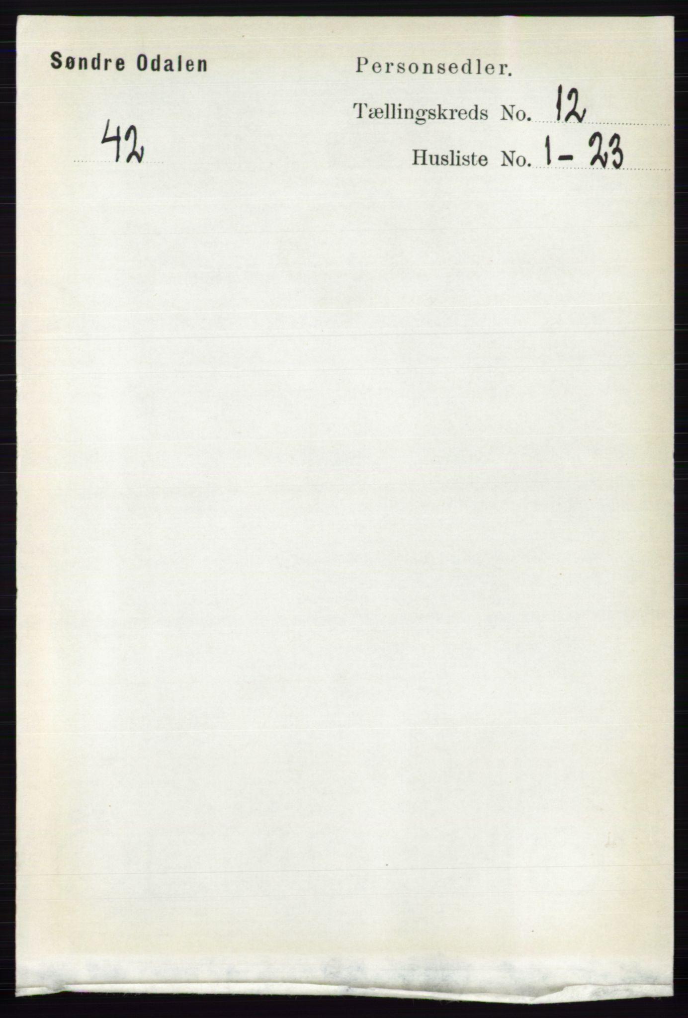 RA, Folketelling 1891 for 0419 Sør-Odal herred, 1891, s. 5391