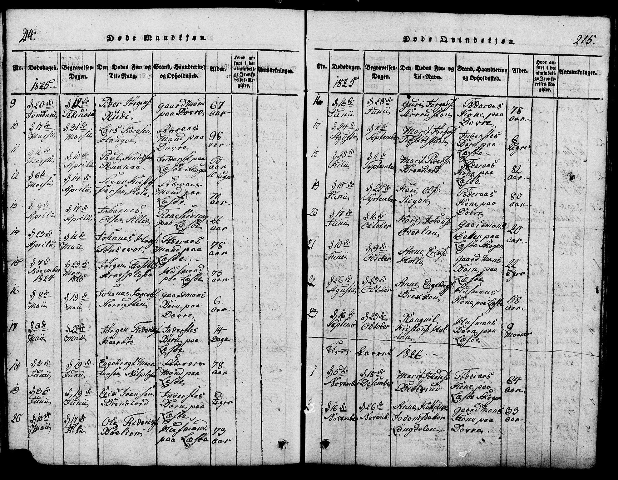 SAH, Lesja prestekontor, Klokkerbok nr. 1, 1820-1831, s. 214-215