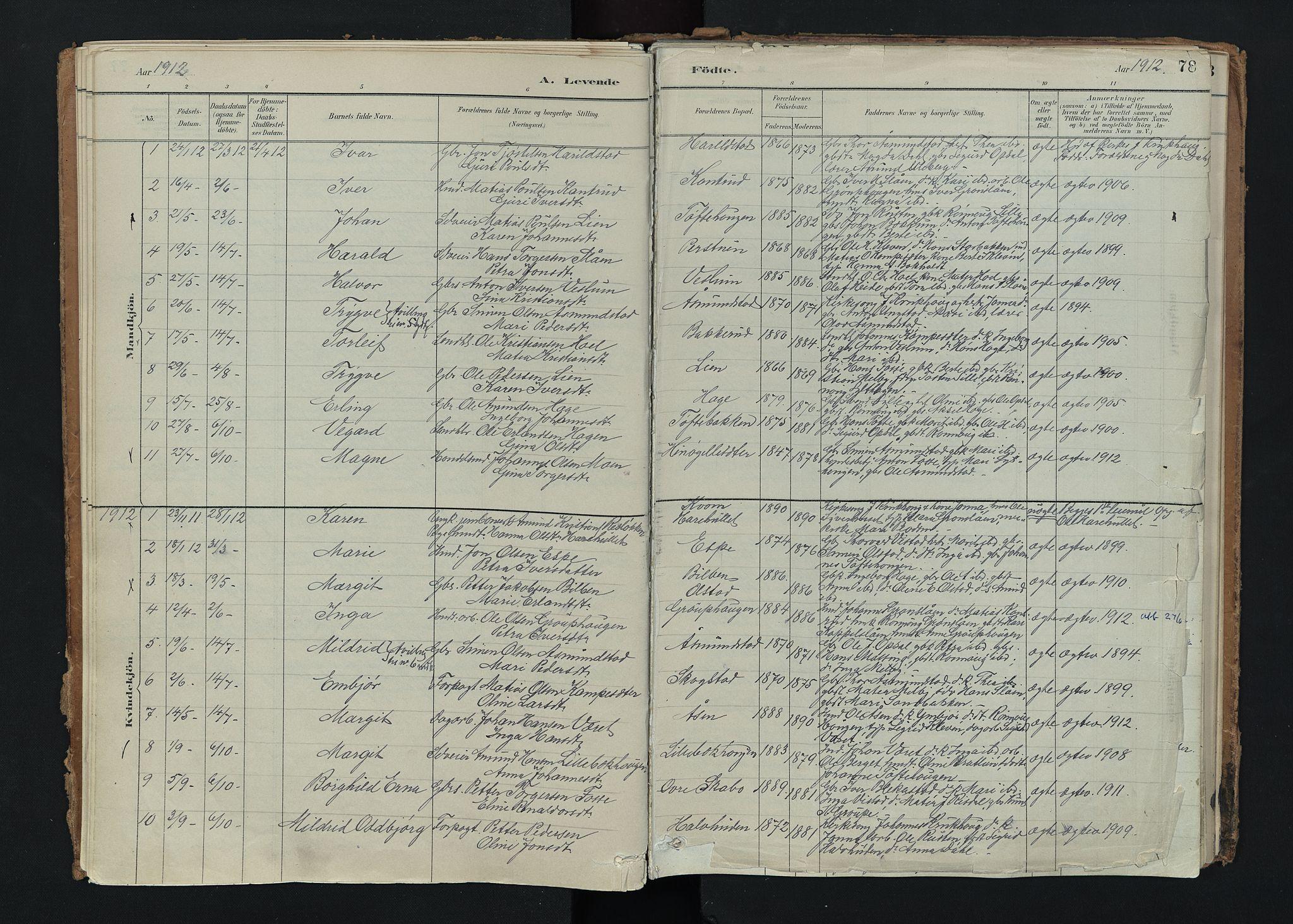SAH, Nord-Fron prestekontor, Ministerialbok nr. 5, 1884-1914, s. 78