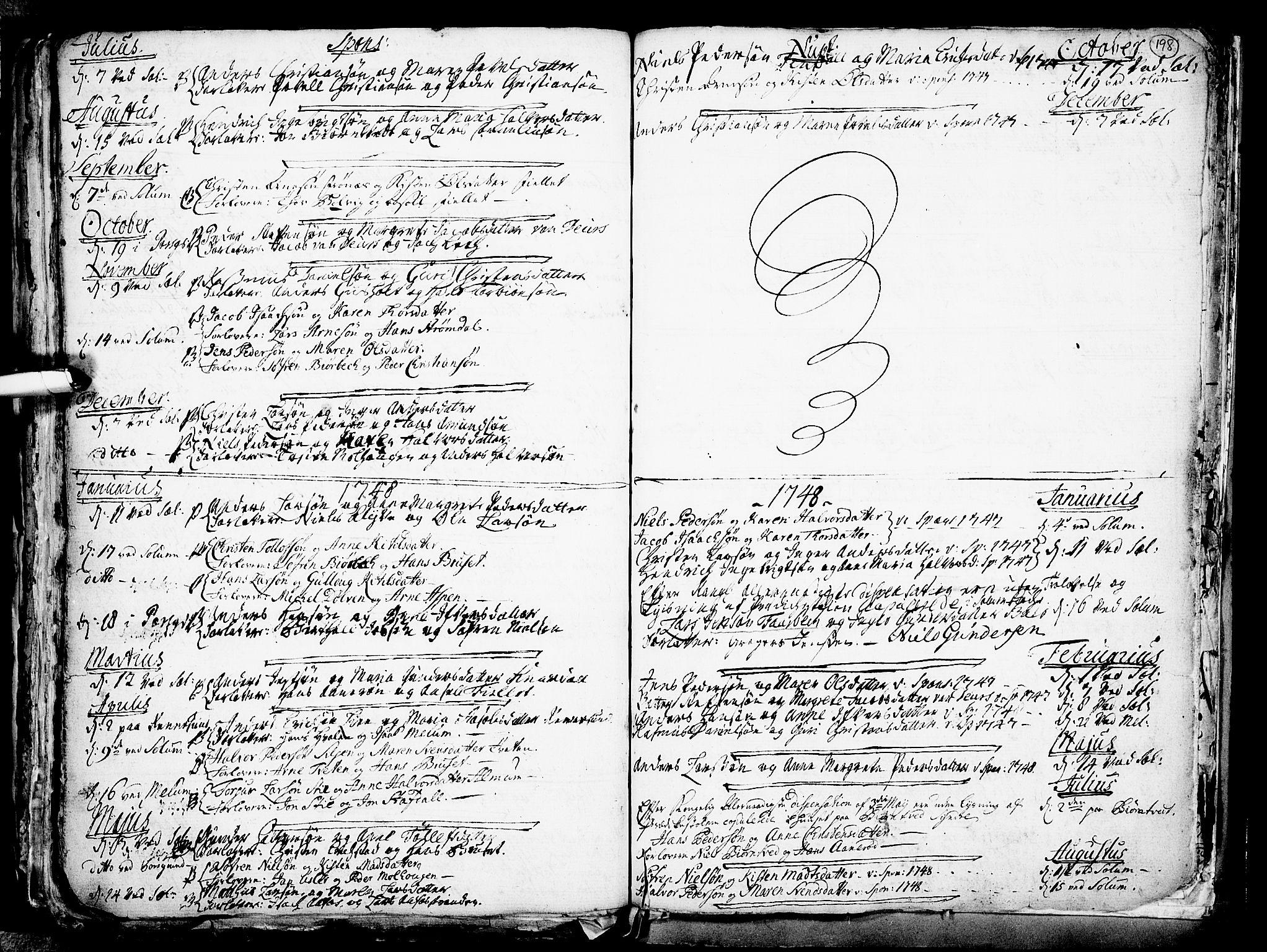 SAKO, Solum kirkebøker, F/Fa/L0002: Ministerialbok nr. I 2, 1713-1761, s. 198