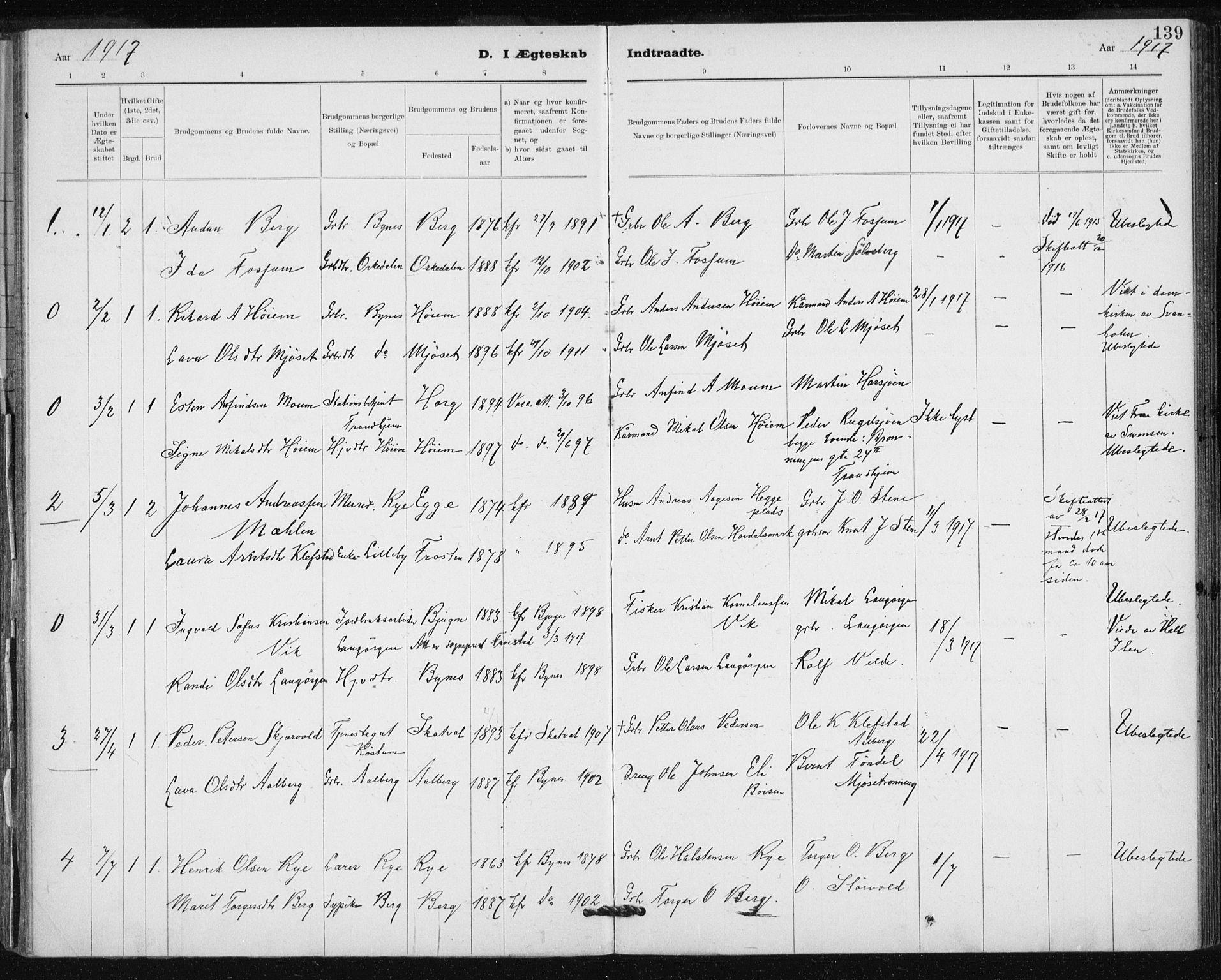 SAT, Ministerialprotokoller, klokkerbøker og fødselsregistre - Sør-Trøndelag, 612/L0381: Ministerialbok nr. 612A13, 1907-1923, s. 139