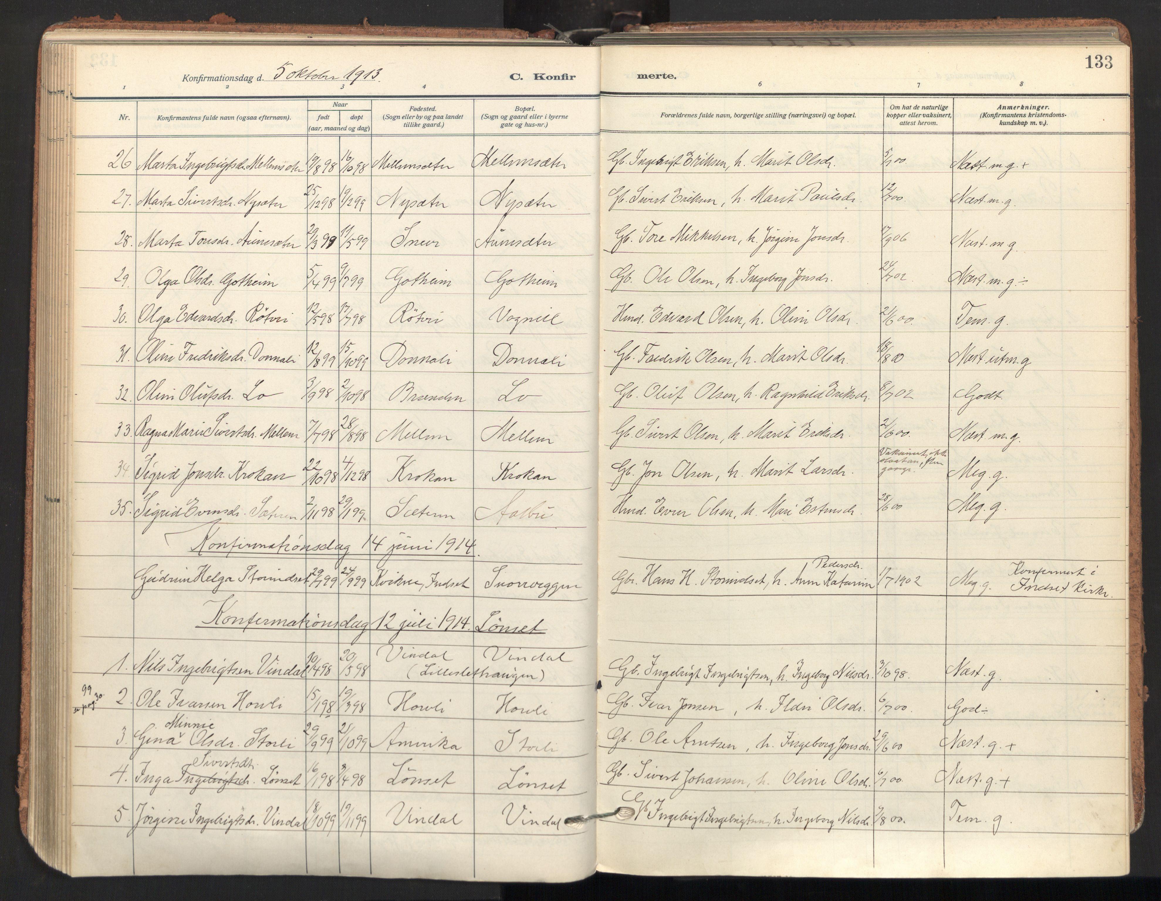 SAT, Ministerialprotokoller, klokkerbøker og fødselsregistre - Sør-Trøndelag, 678/L0909: Ministerialbok nr. 678A17, 1912-1930, s. 133