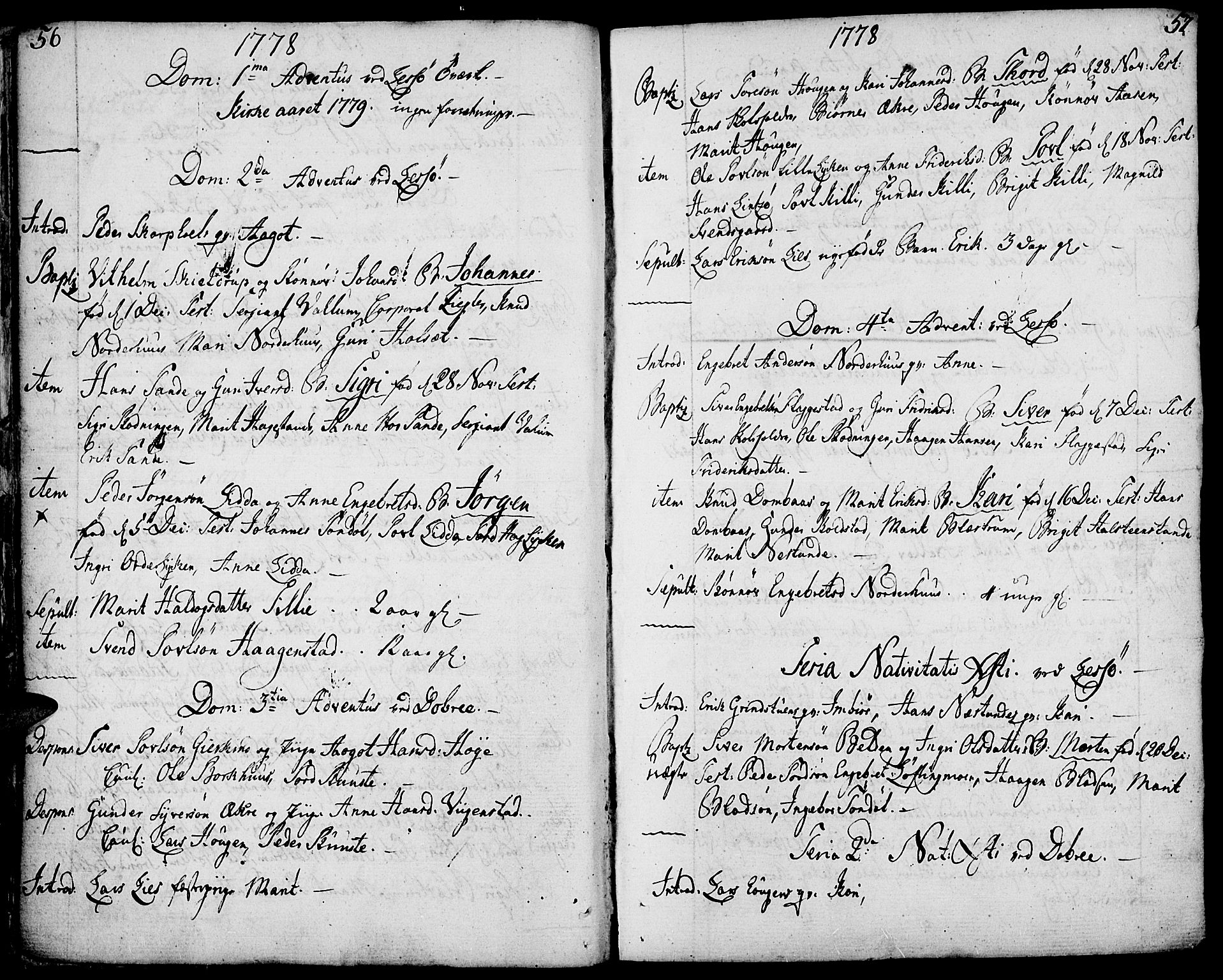 SAH, Lesja prestekontor, Ministerialbok nr. 3, 1777-1819, s. 56-57