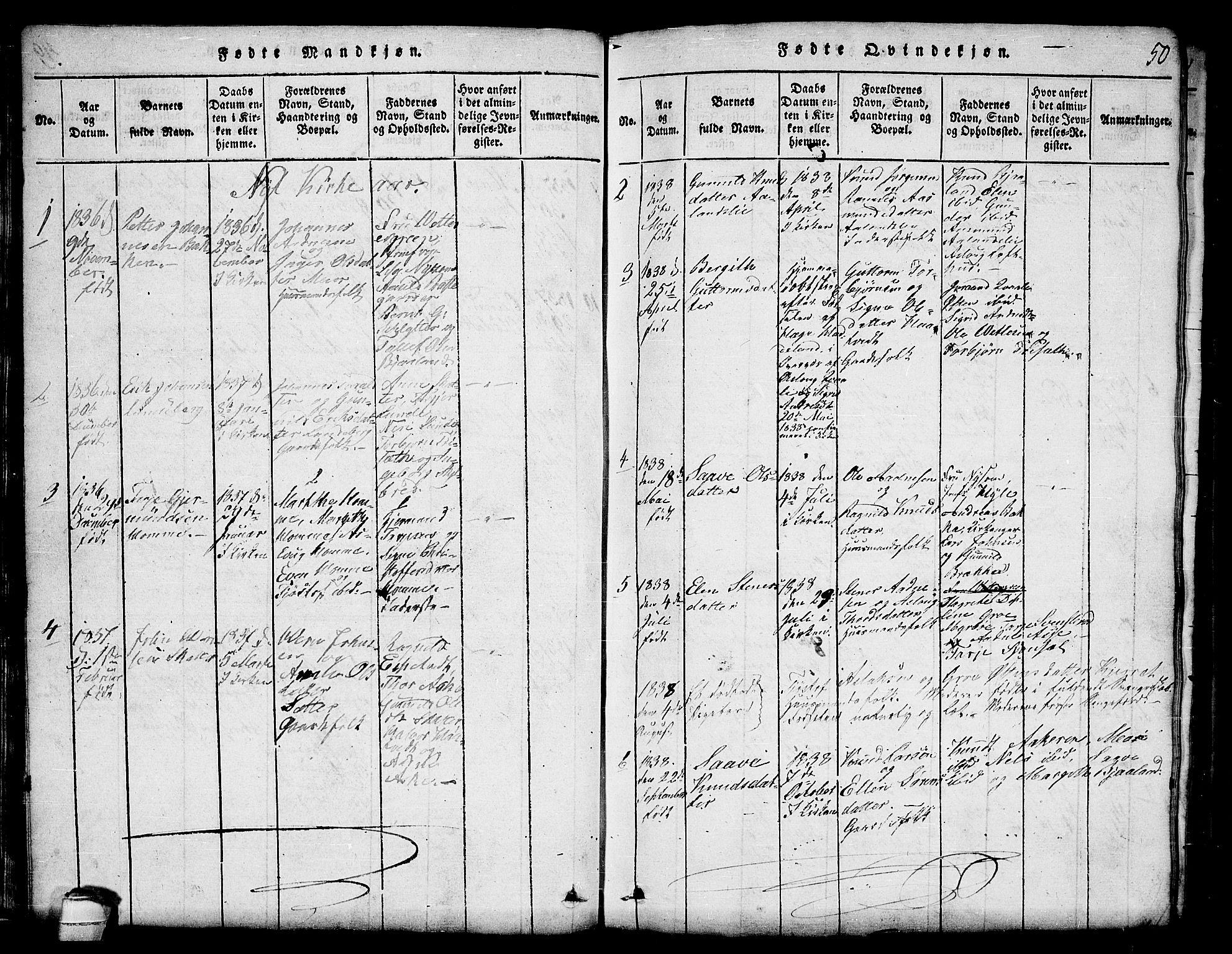 SAKO, Lårdal kirkebøker, G/Ga/L0001: Klokkerbok nr. I 1, 1815-1861, s. 50