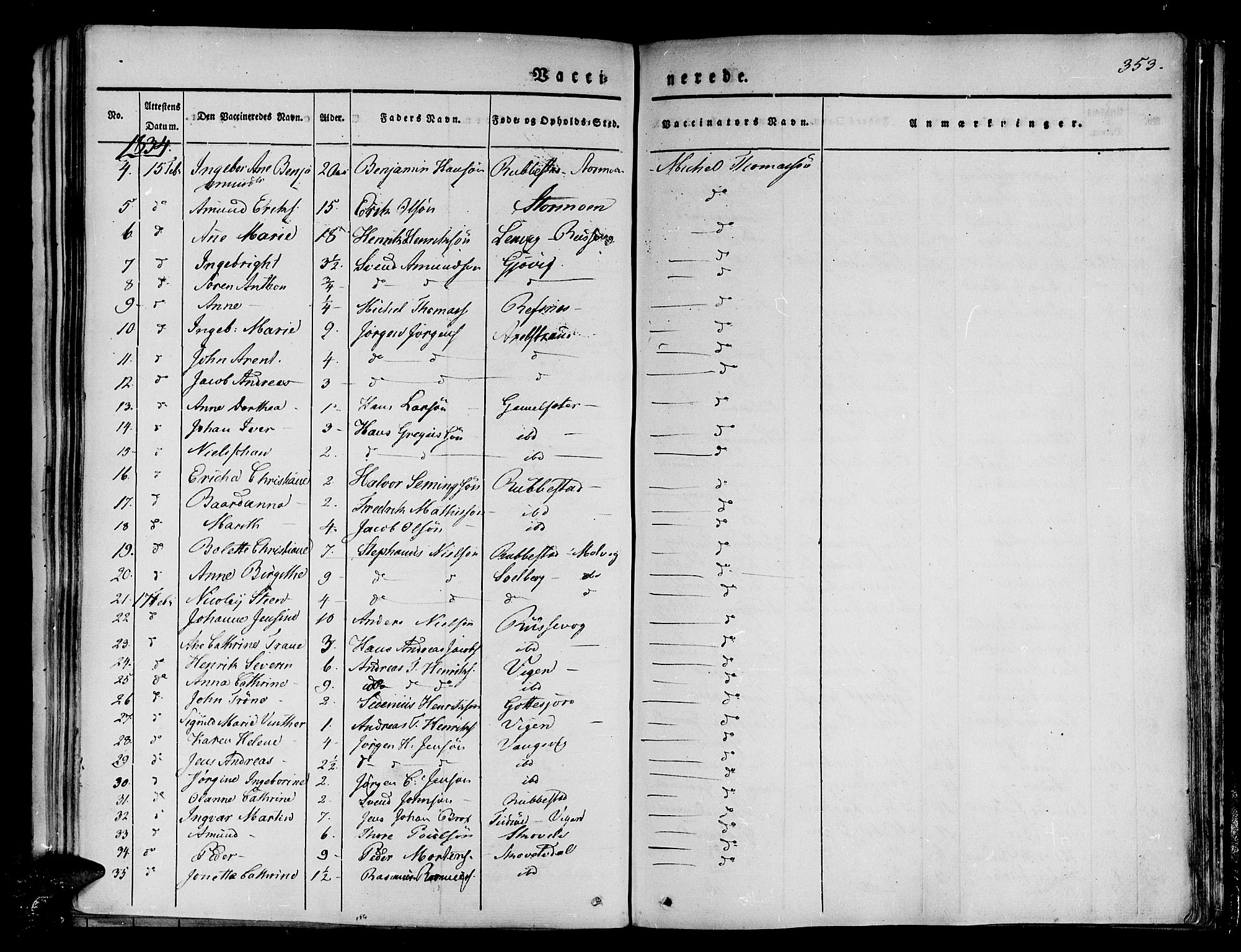 SATØ, Tranøy sokneprestkontor, I/Ia/Iaa/L0005kirke: Ministerialbok nr. 5, 1829-1844, s. 353