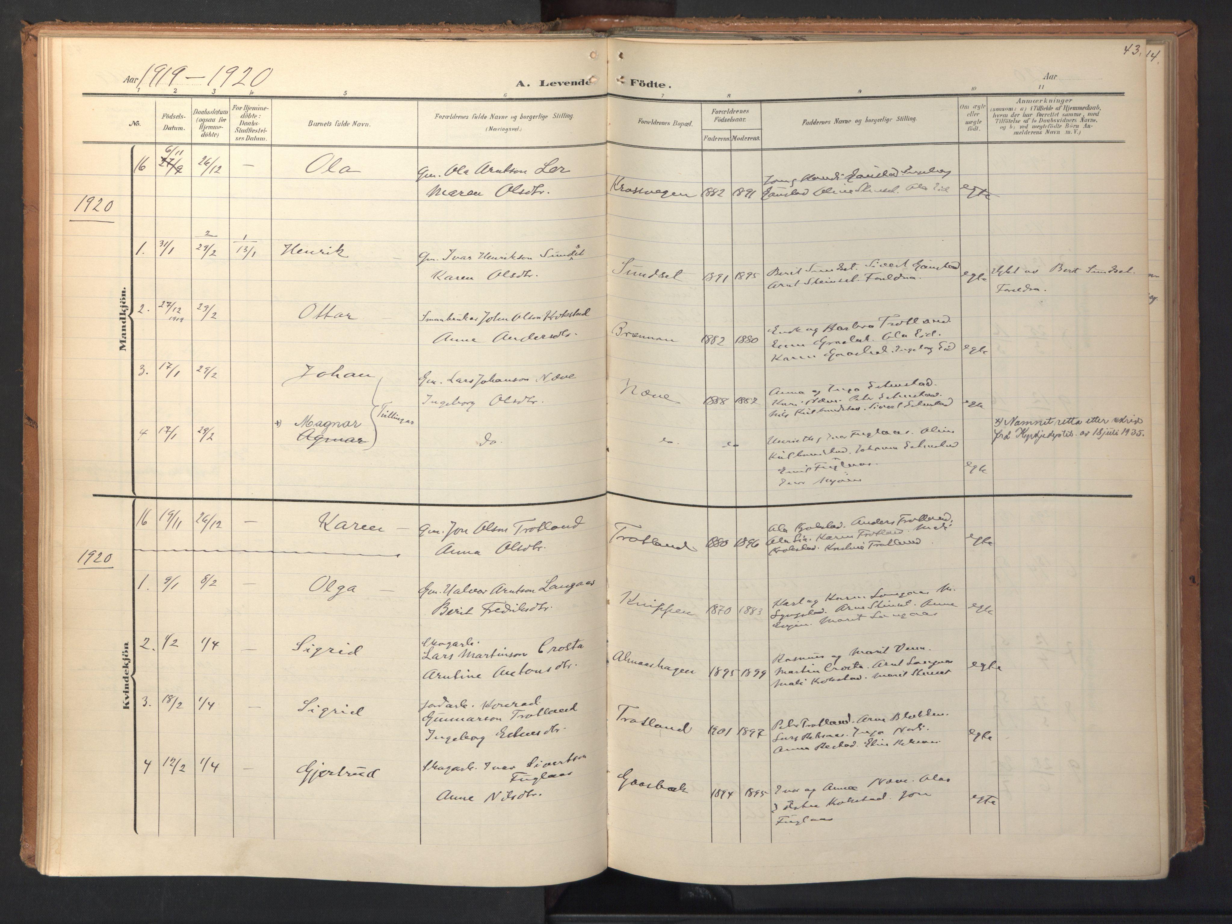 SAT, Ministerialprotokoller, klokkerbøker og fødselsregistre - Sør-Trøndelag, 694/L1128: Ministerialbok nr. 694A02, 1906-1931, s. 43