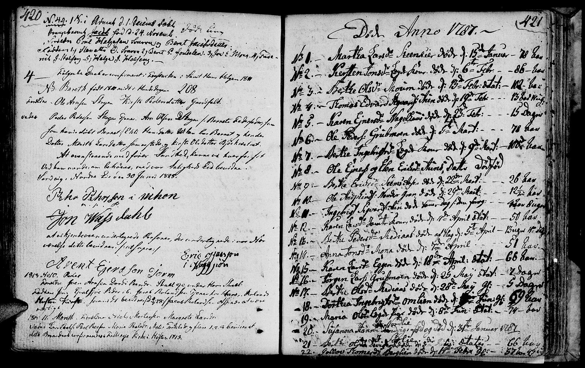 SAT, Ministerialprotokoller, klokkerbøker og fødselsregistre - Nord-Trøndelag, 749/L0468: Ministerialbok nr. 749A02, 1787-1817, s. 420-421