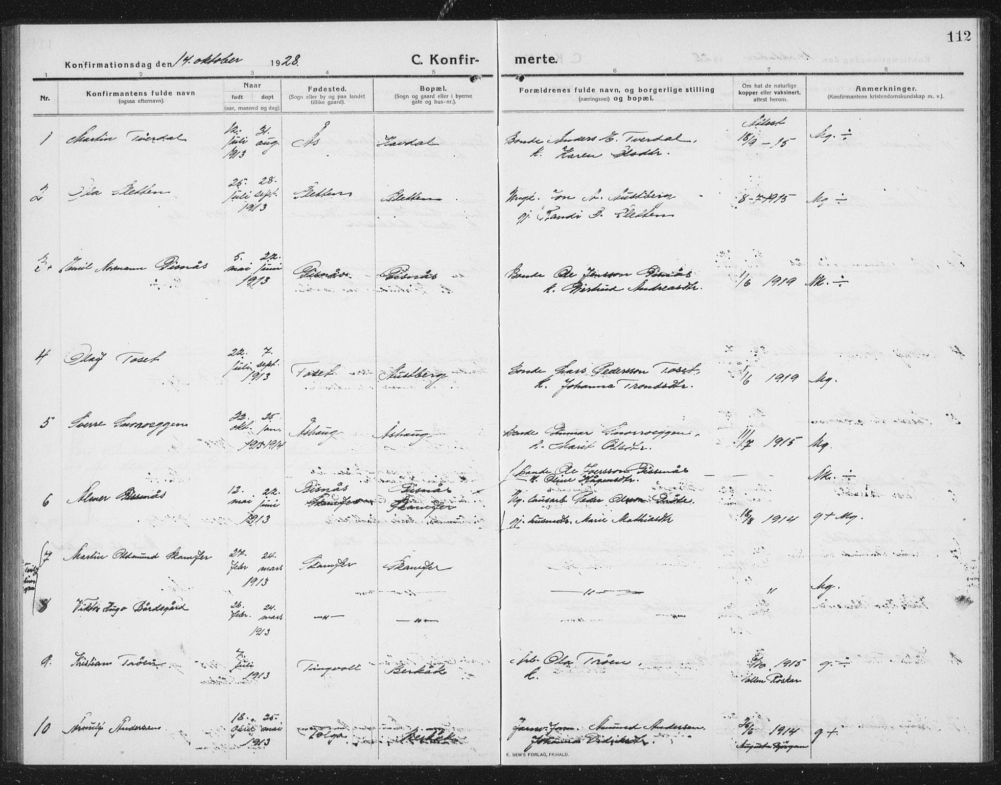SAT, Ministerialprotokoller, klokkerbøker og fødselsregistre - Sør-Trøndelag, 675/L0888: Klokkerbok nr. 675C01, 1913-1935, s. 112