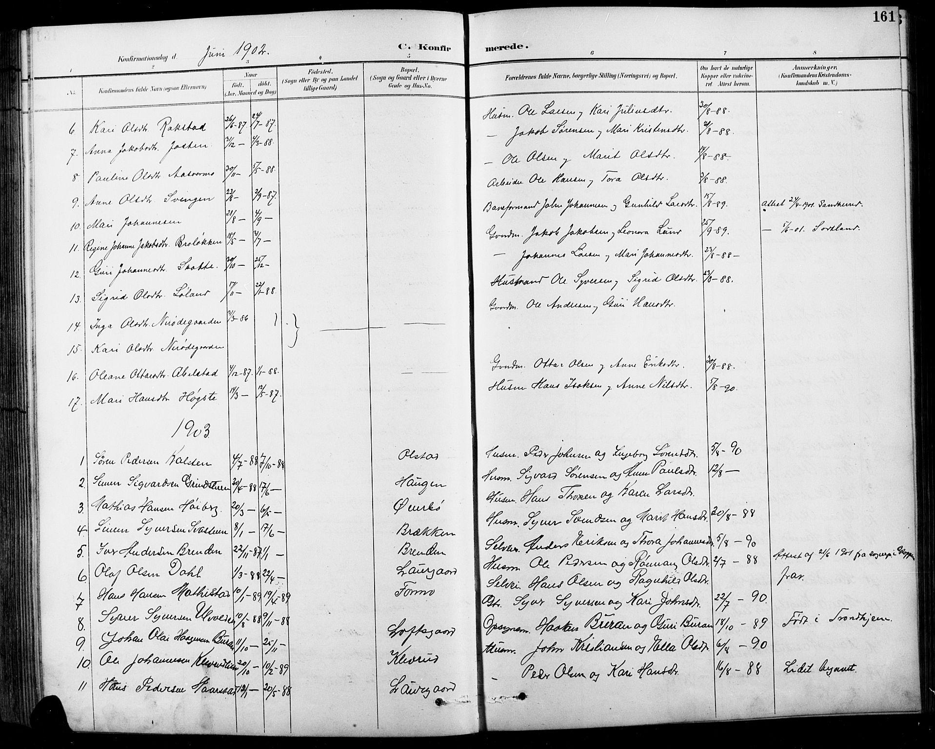 SAH, Sel prestekontor, Klokkerbok nr. 1, 1894-1923, s. 161