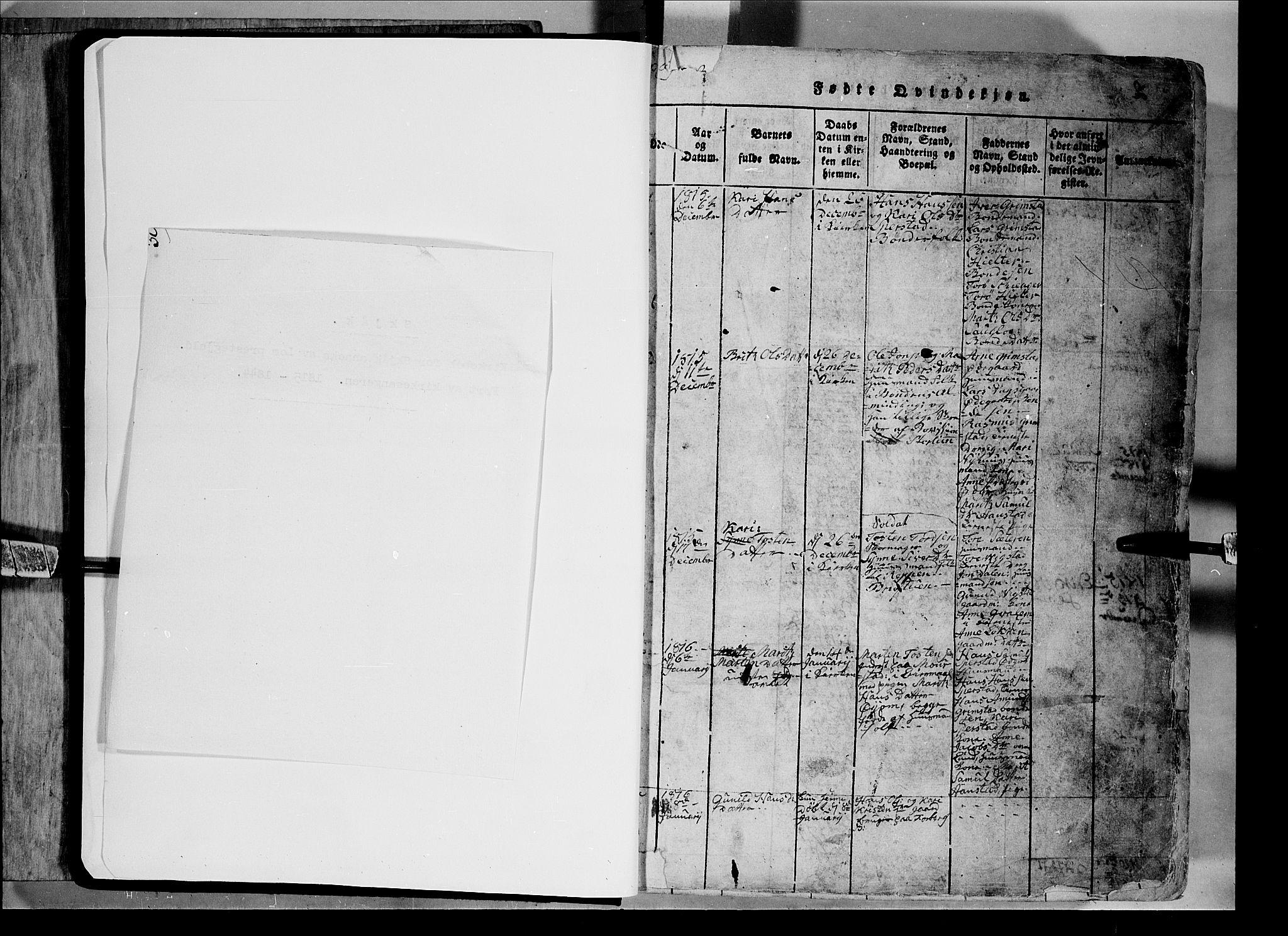 SAH, Lom prestekontor, L/L0003: Klokkerbok nr. 3, 1815-1844, s. 0-1