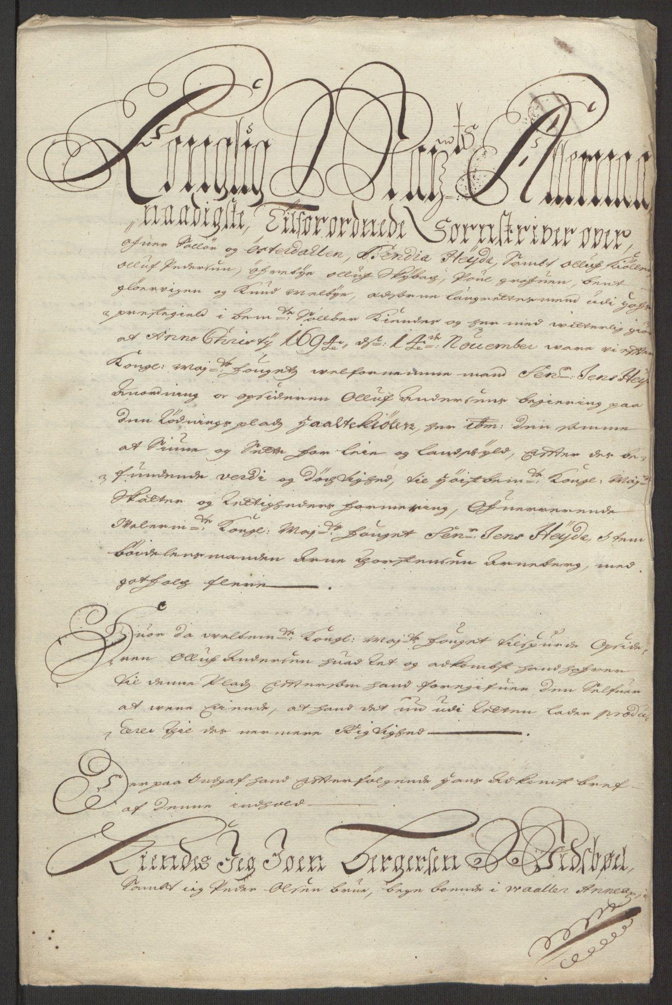 RA, Rentekammeret inntil 1814, Reviderte regnskaper, Fogderegnskap, R13/L0833: Fogderegnskap Solør, Odal og Østerdal, 1695, s. 234
