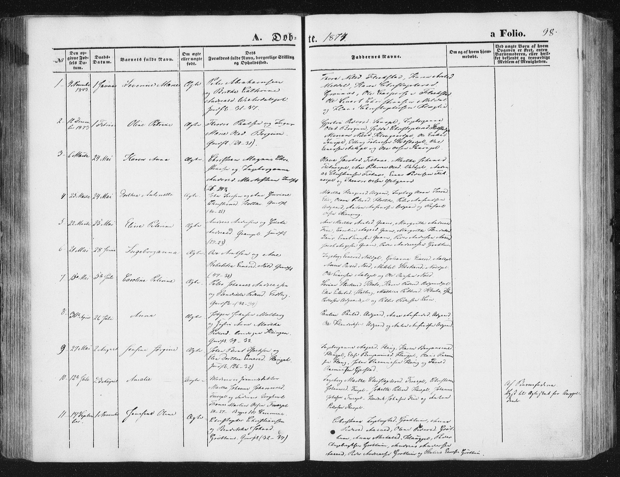 SAT, Ministerialprotokoller, klokkerbøker og fødselsregistre - Nord-Trøndelag, 746/L0447: Ministerialbok nr. 746A06, 1860-1877, s. 98