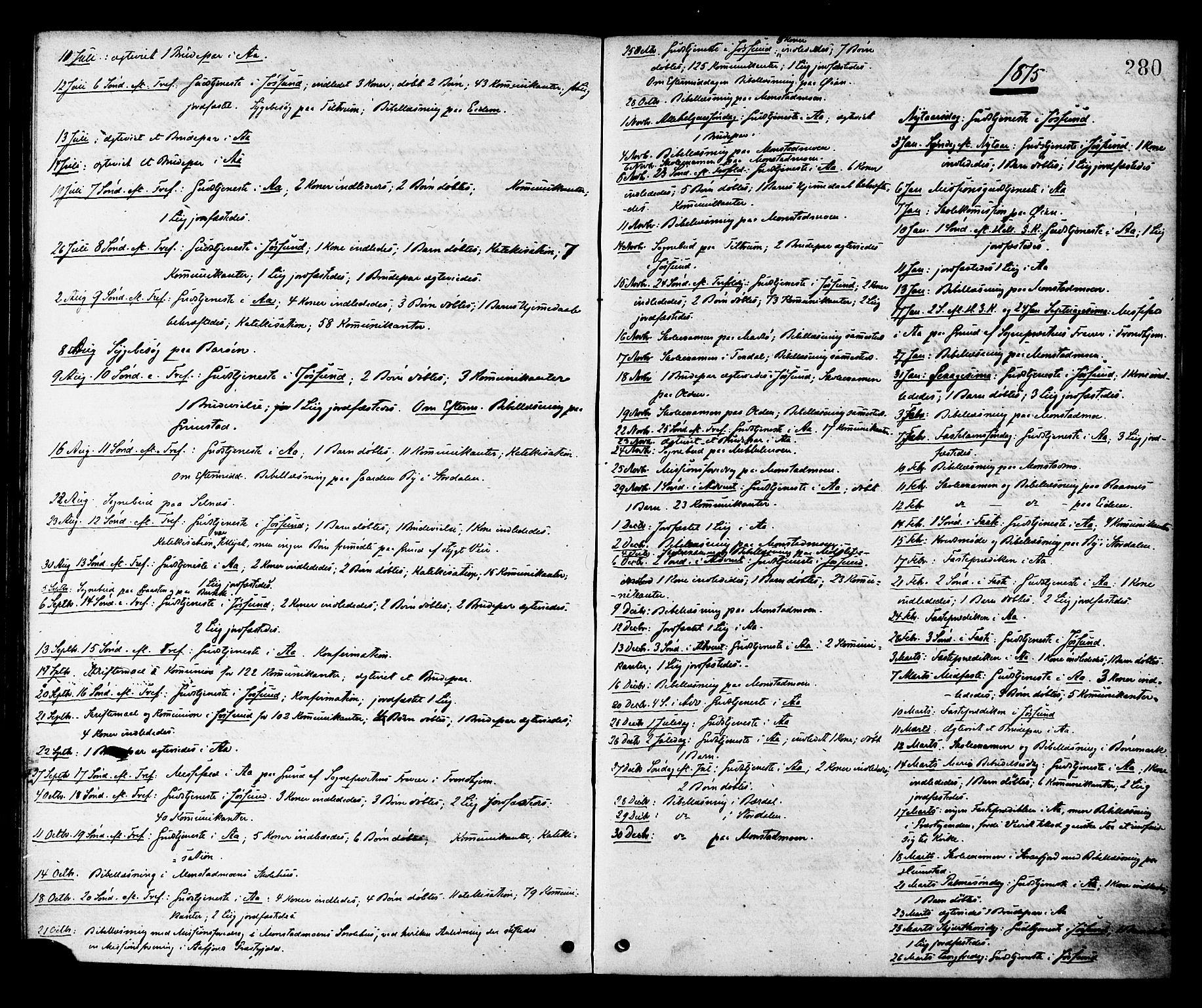 SAT, Ministerialprotokoller, klokkerbøker og fødselsregistre - Sør-Trøndelag, 655/L0679: Ministerialbok nr. 655A08, 1873-1879, s. 280