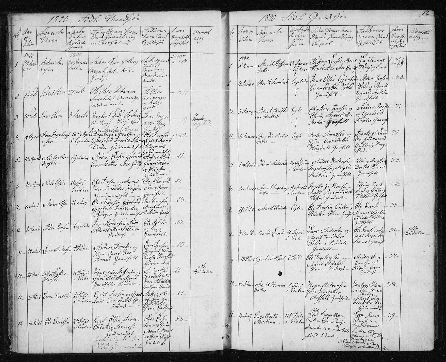 SAT, Ministerialprotokoller, klokkerbøker og fødselsregistre - Sør-Trøndelag, 687/L1017: Klokkerbok nr. 687C01, 1816-1837, s. 12