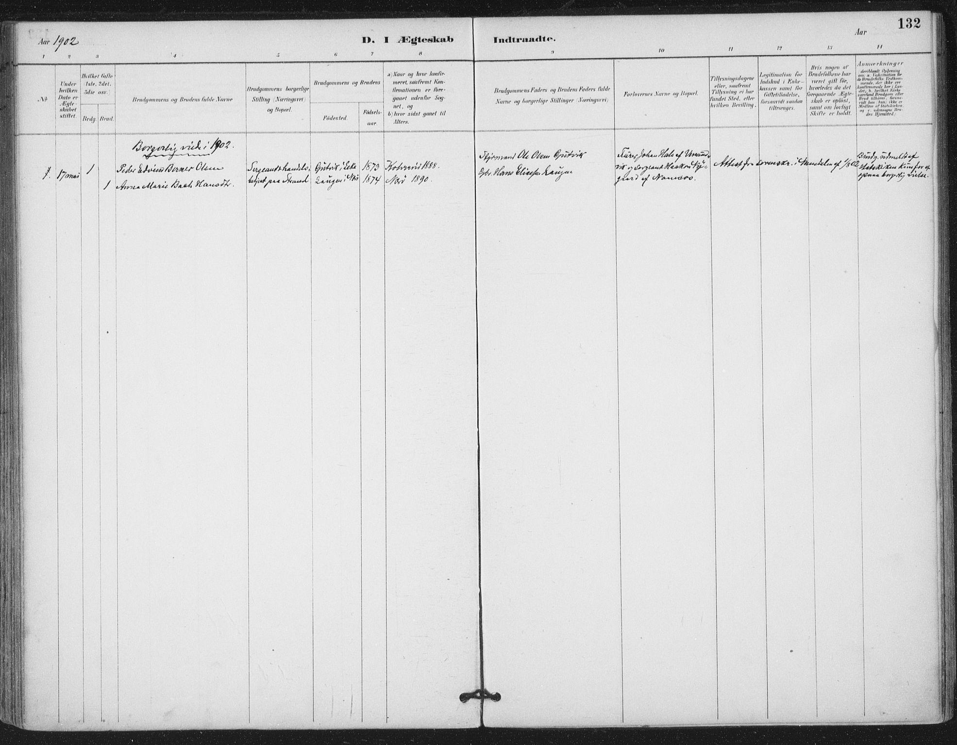 SAT, Ministerialprotokoller, klokkerbøker og fødselsregistre - Nord-Trøndelag, 780/L0644: Ministerialbok nr. 780A08, 1886-1903, s. 132