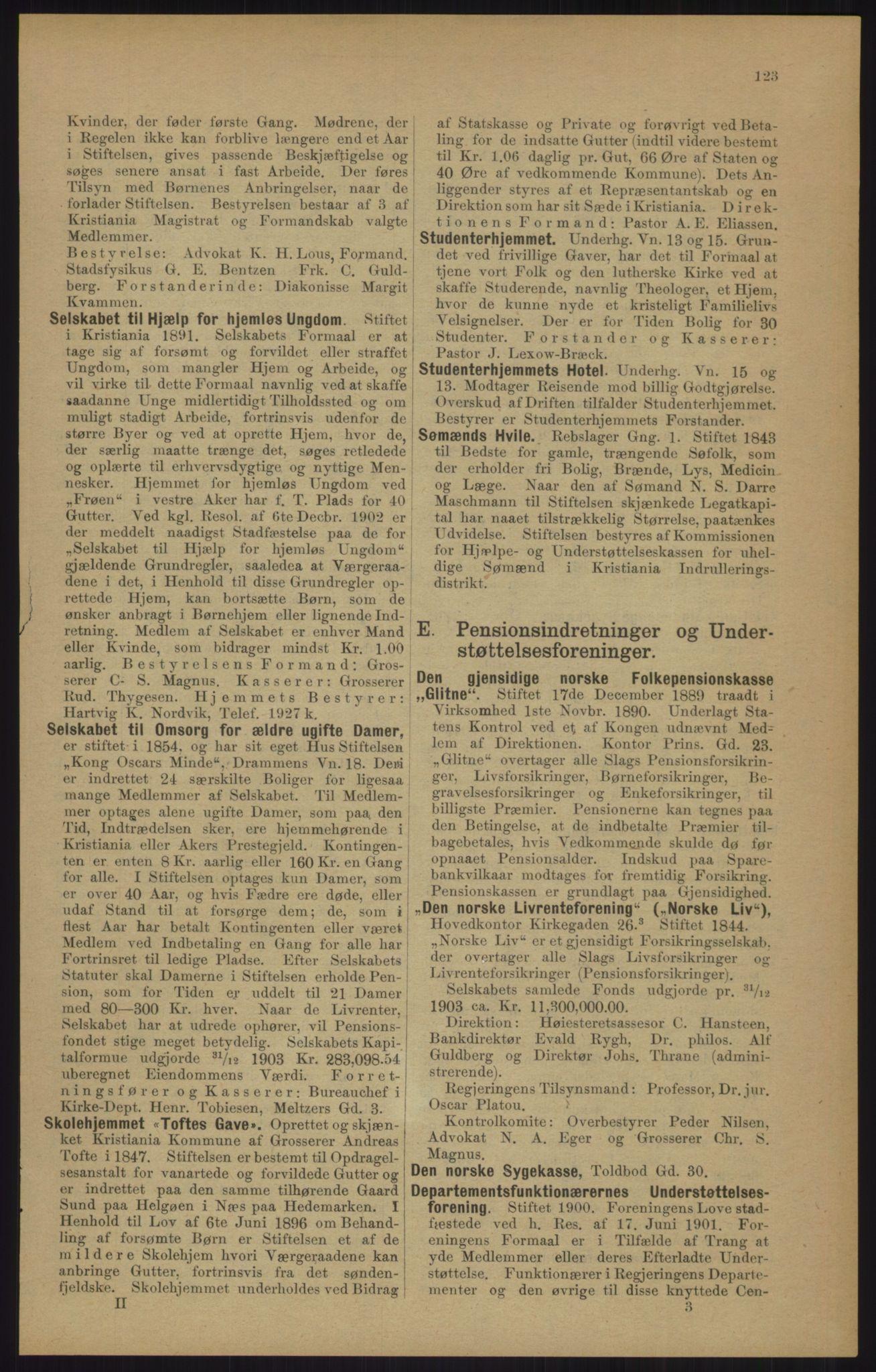 RA, Kristiania adressebok (publikasjon)*, 1905, s. 123