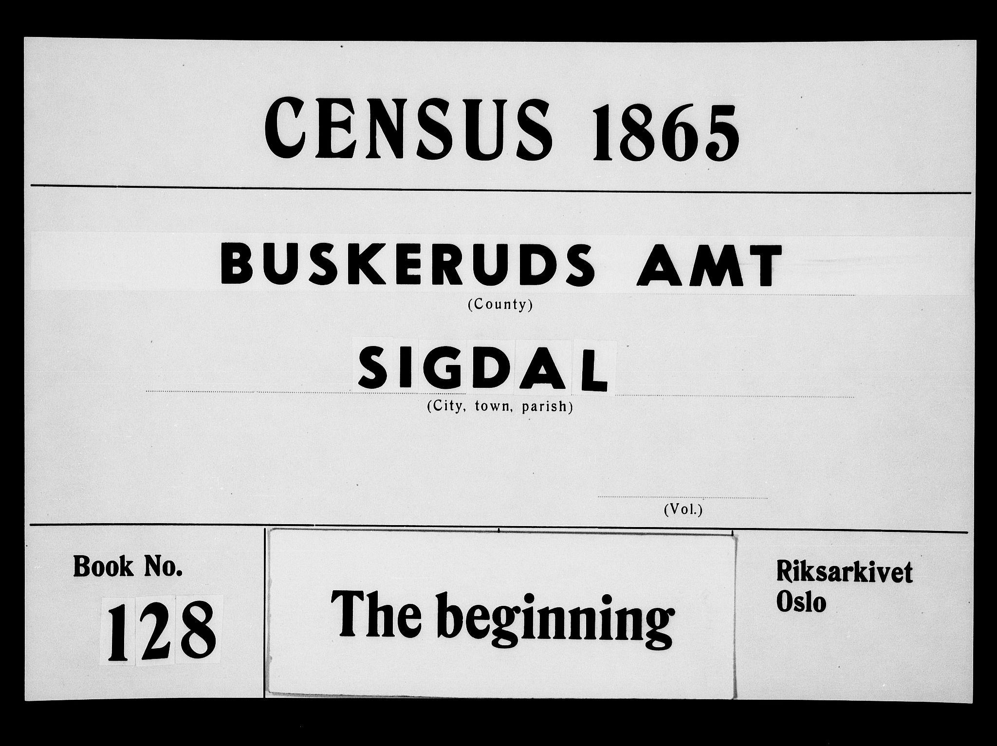 RA, Folketelling 1865 for 0621P Sigdal prestegjeld, 1865, s. 1