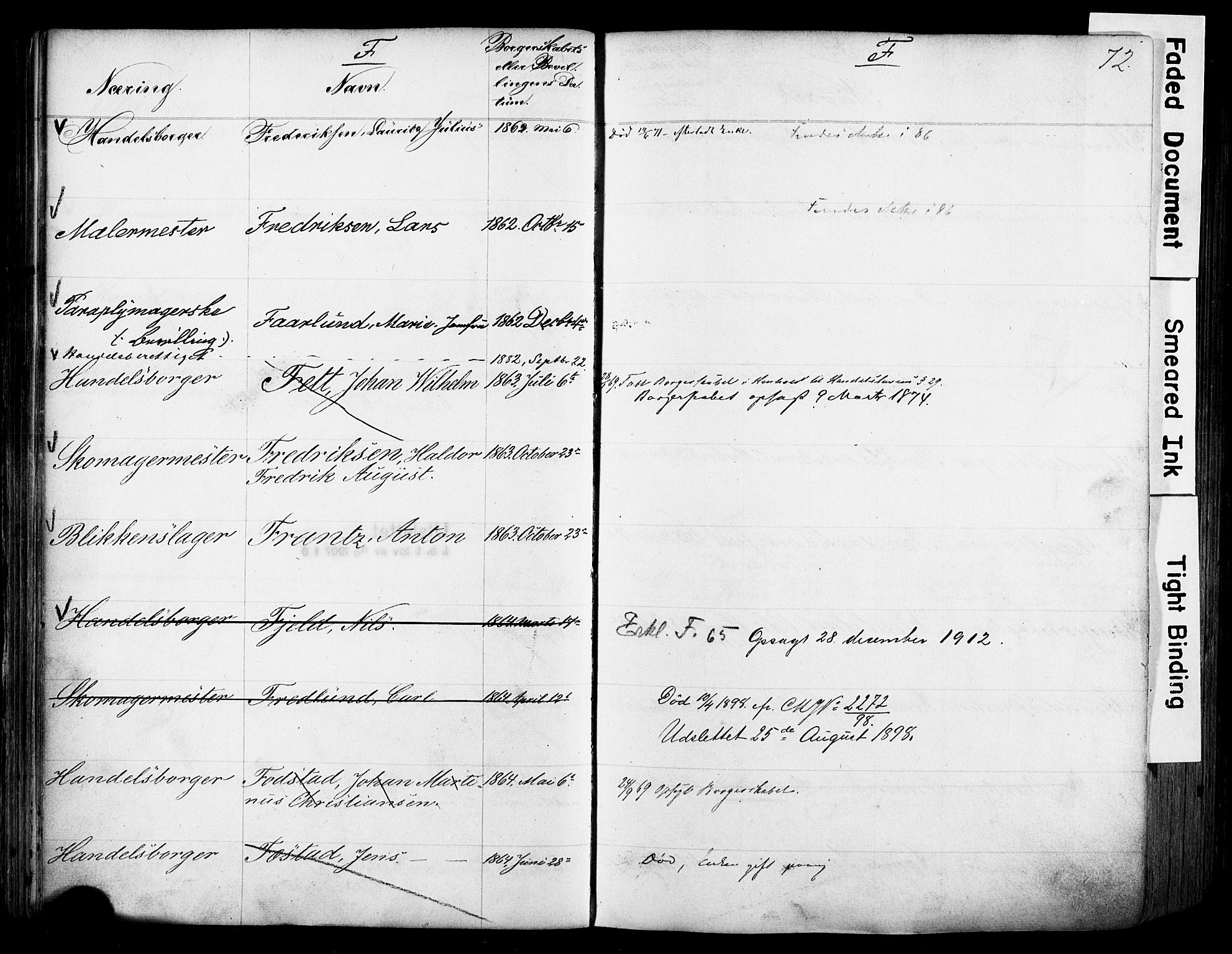SAO, Kristiania magistrat, F/Fb/L0004: Borgerrulle, 1860-1879, s. 74