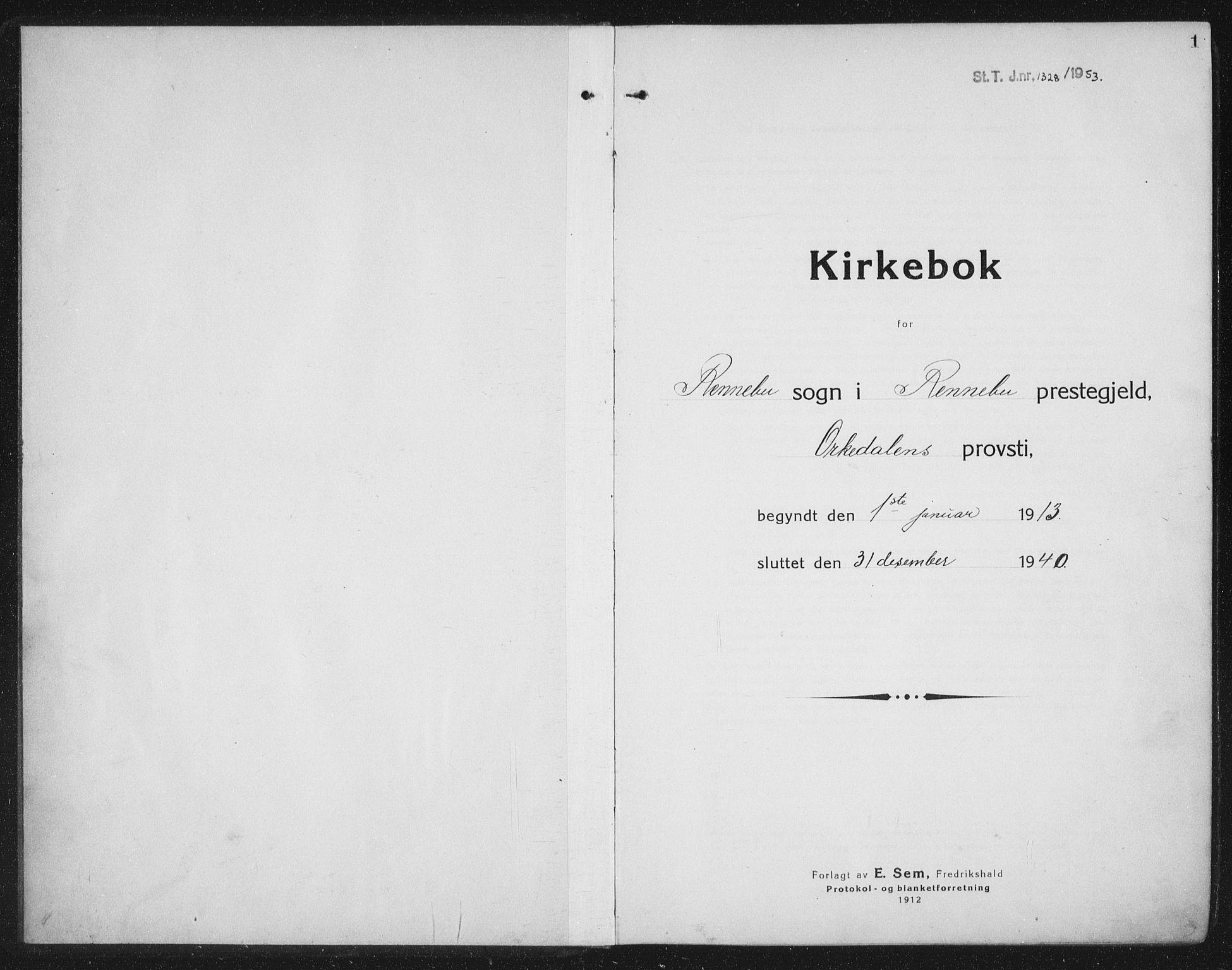 SAT, Ministerialprotokoller, klokkerbøker og fødselsregistre - Sør-Trøndelag, 674/L0877: Klokkerbok nr. 674C04, 1913-1940, s. 1