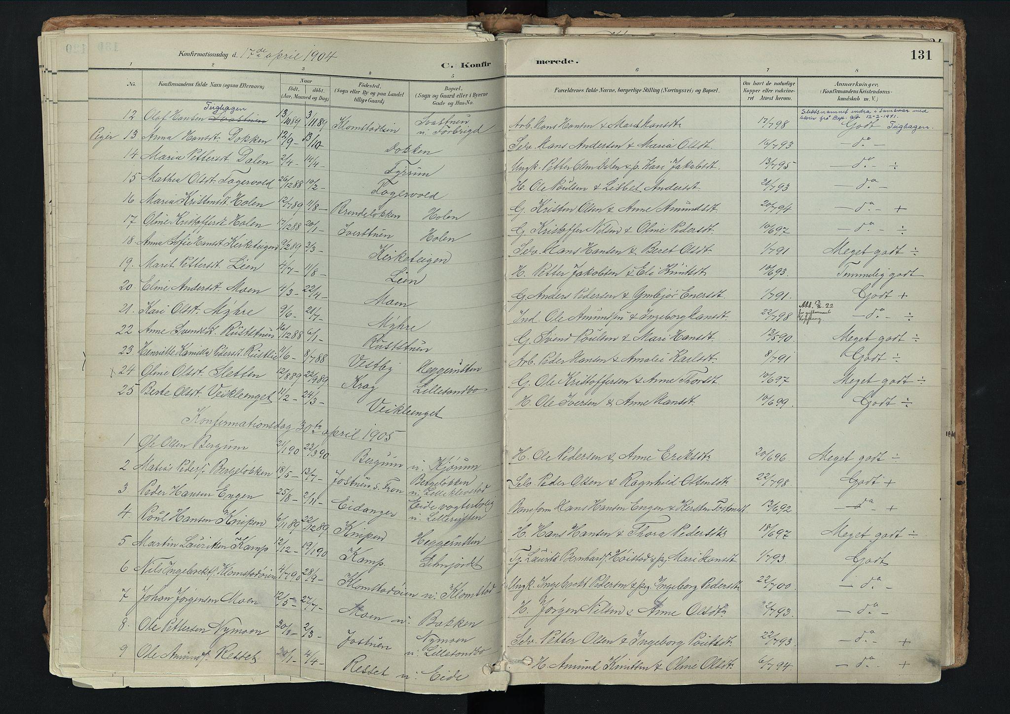 SAH, Nord-Fron prestekontor, Ministerialbok nr. 3, 1884-1914, s. 131