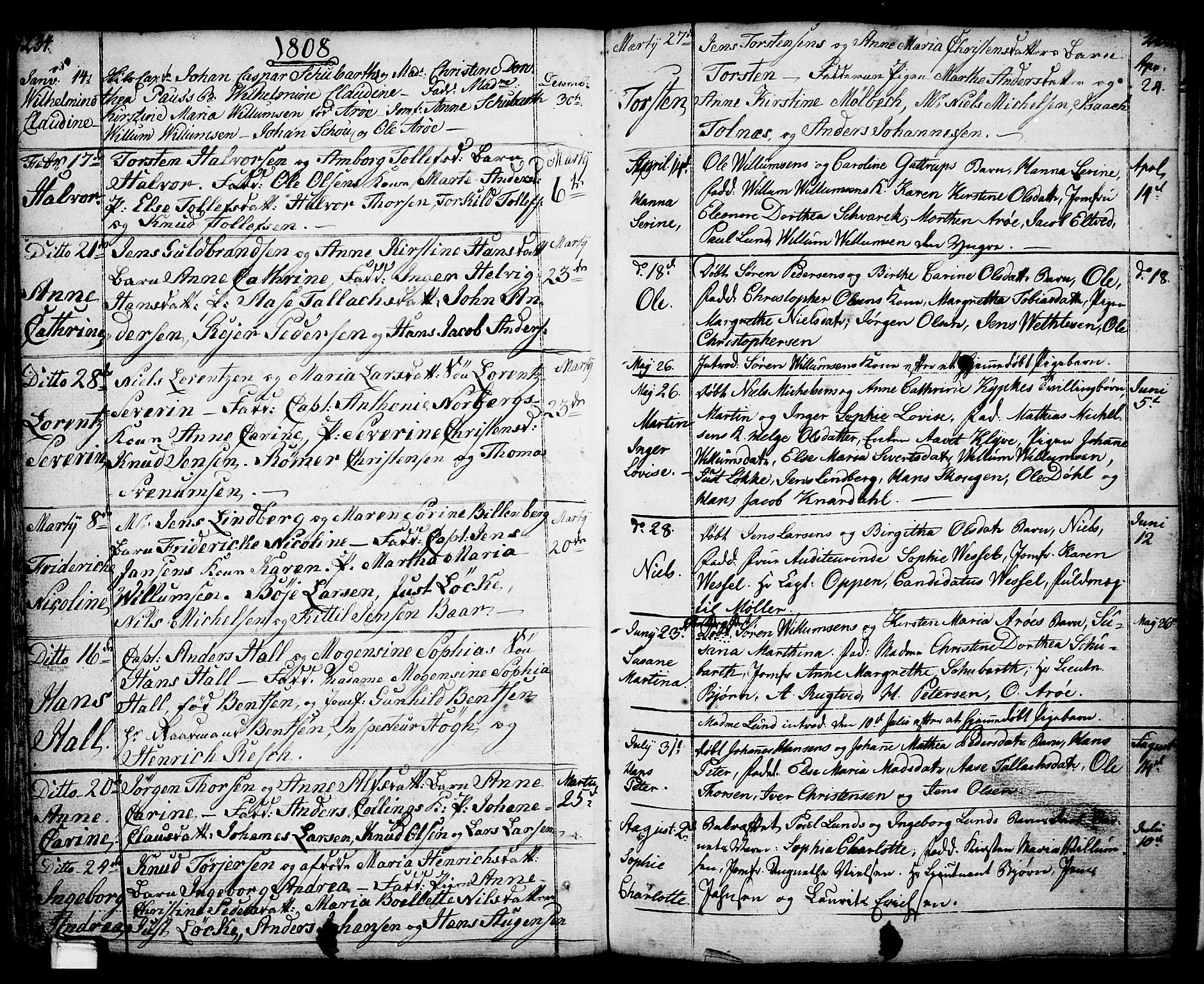SAKO, Porsgrunn kirkebøker , F/Fa/L0001: Ministerialbok nr. 1, 1764-1814, s. 234-235