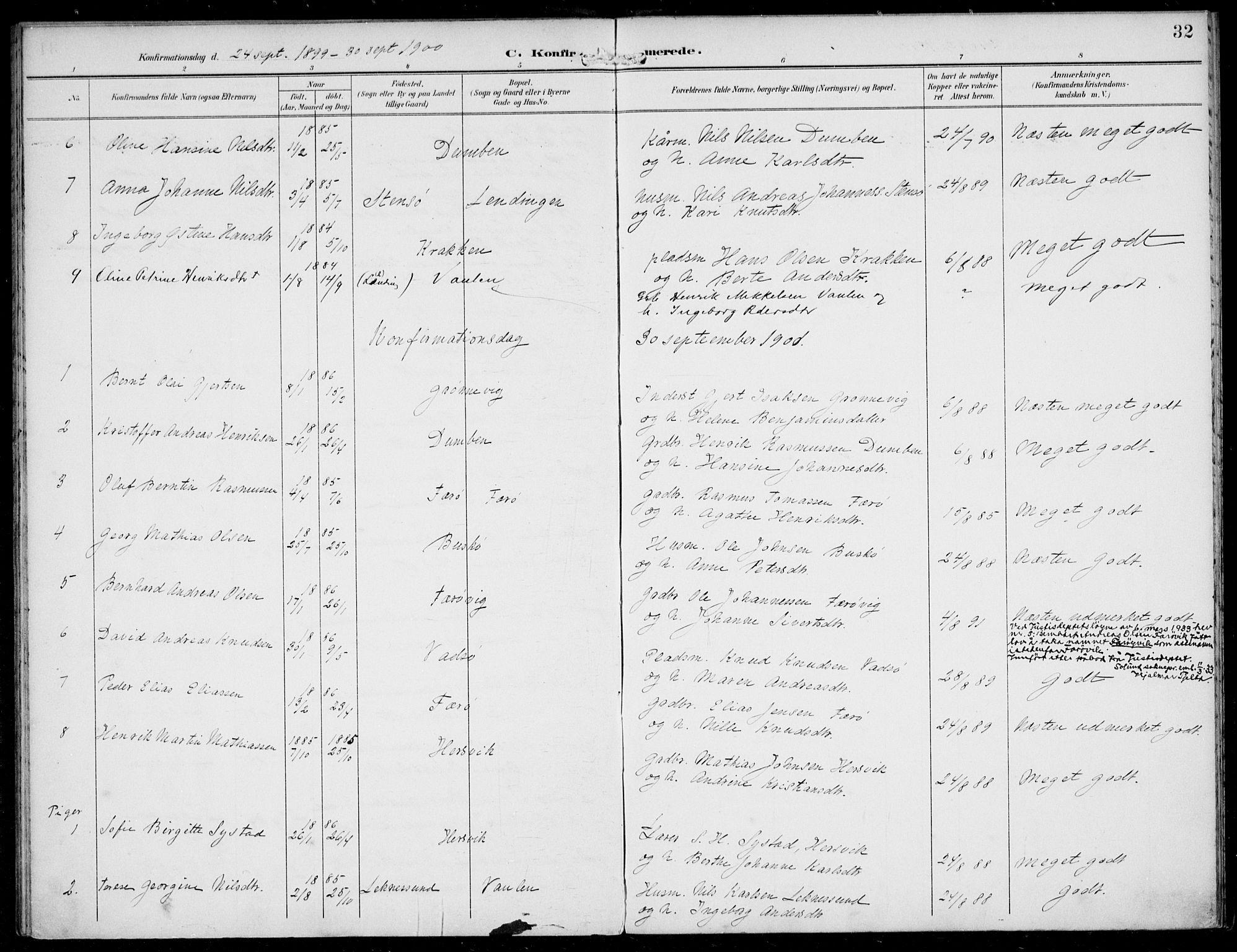 SAB, Solund sokneprestembete, Ministerialbok nr. B  1, 1891-1901, s. 32