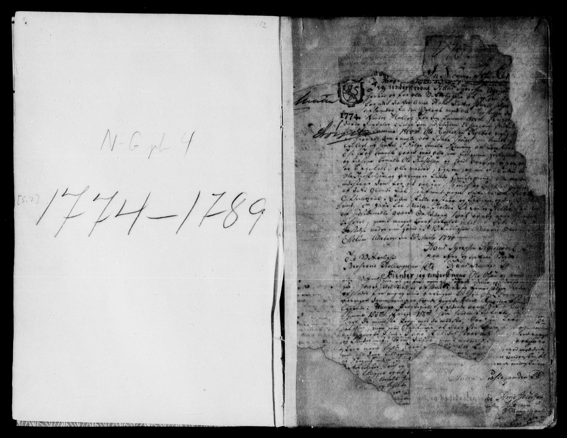 SAH, Nord-Gudbrandsdal tingrett, H/Hb/Hba/L0003: Pantebok nr. 3, 1774-1789, s. 1