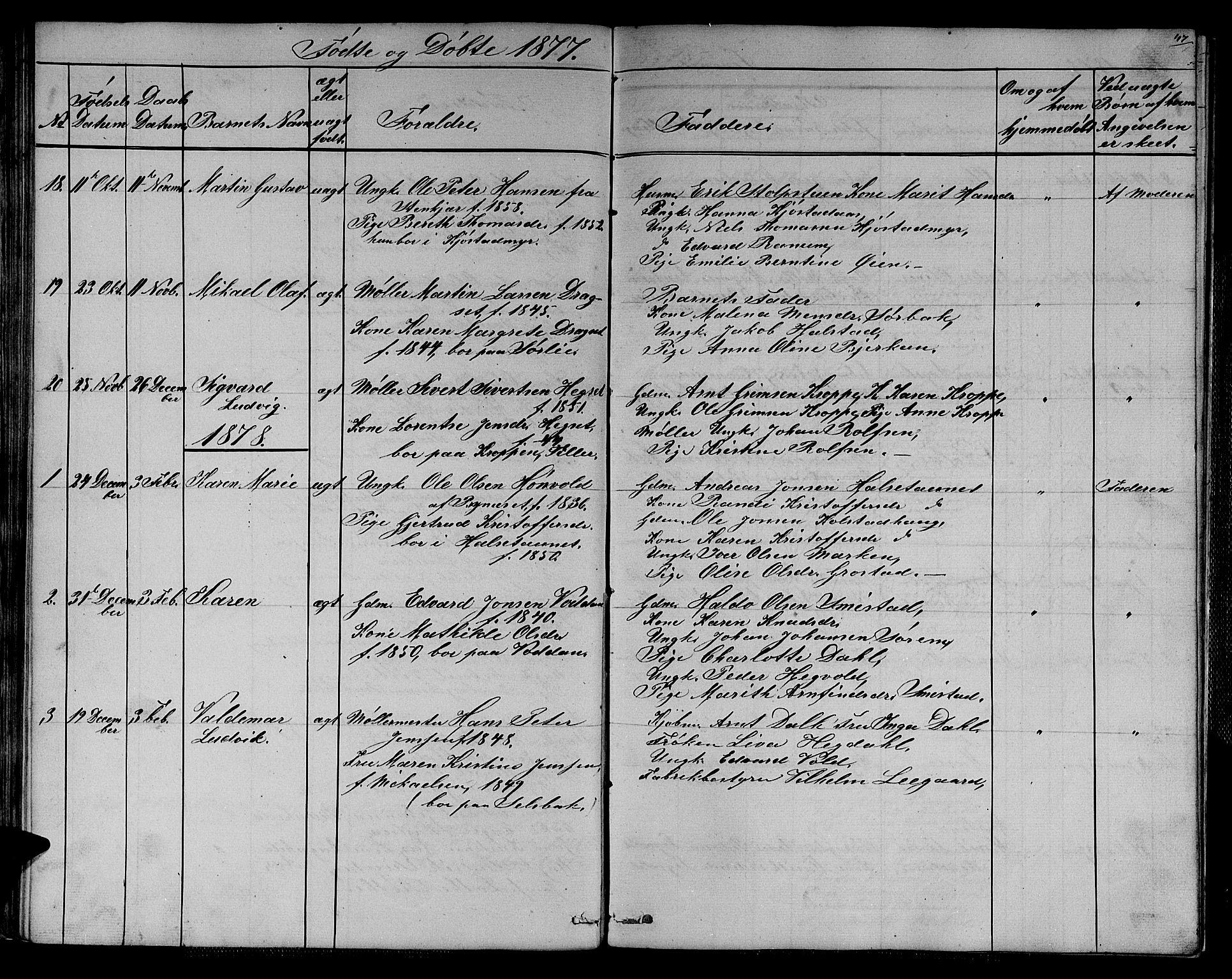 SAT, Ministerialprotokoller, klokkerbøker og fødselsregistre - Sør-Trøndelag, 611/L0353: Klokkerbok nr. 611C01, 1854-1881, s. 47