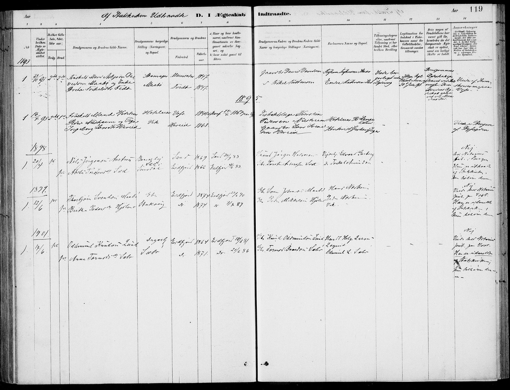 SAB, Ulvik Sokneprestembete, H/Haa: Ministerialbok nr. D  1, 1878-1903, s. 119