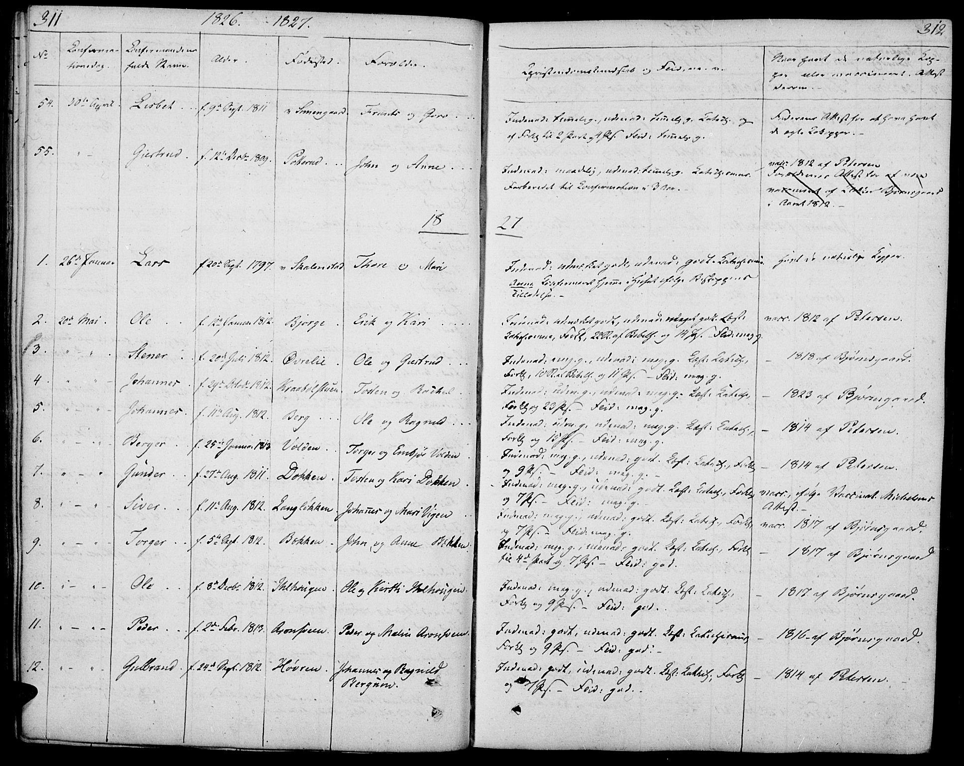 SAH, Øyer prestekontor, Ministerialbok nr. 4, 1824-1841, s. 311-312