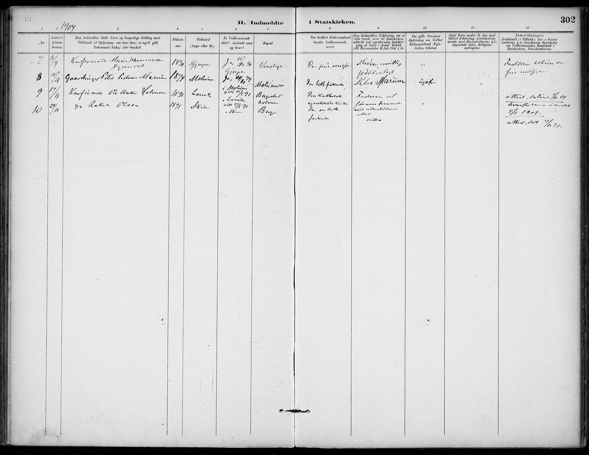 SAKO, Gjerpen kirkebøker, F/Fa/L0011: Ministerialbok nr. 11, 1896-1904, s. 302
