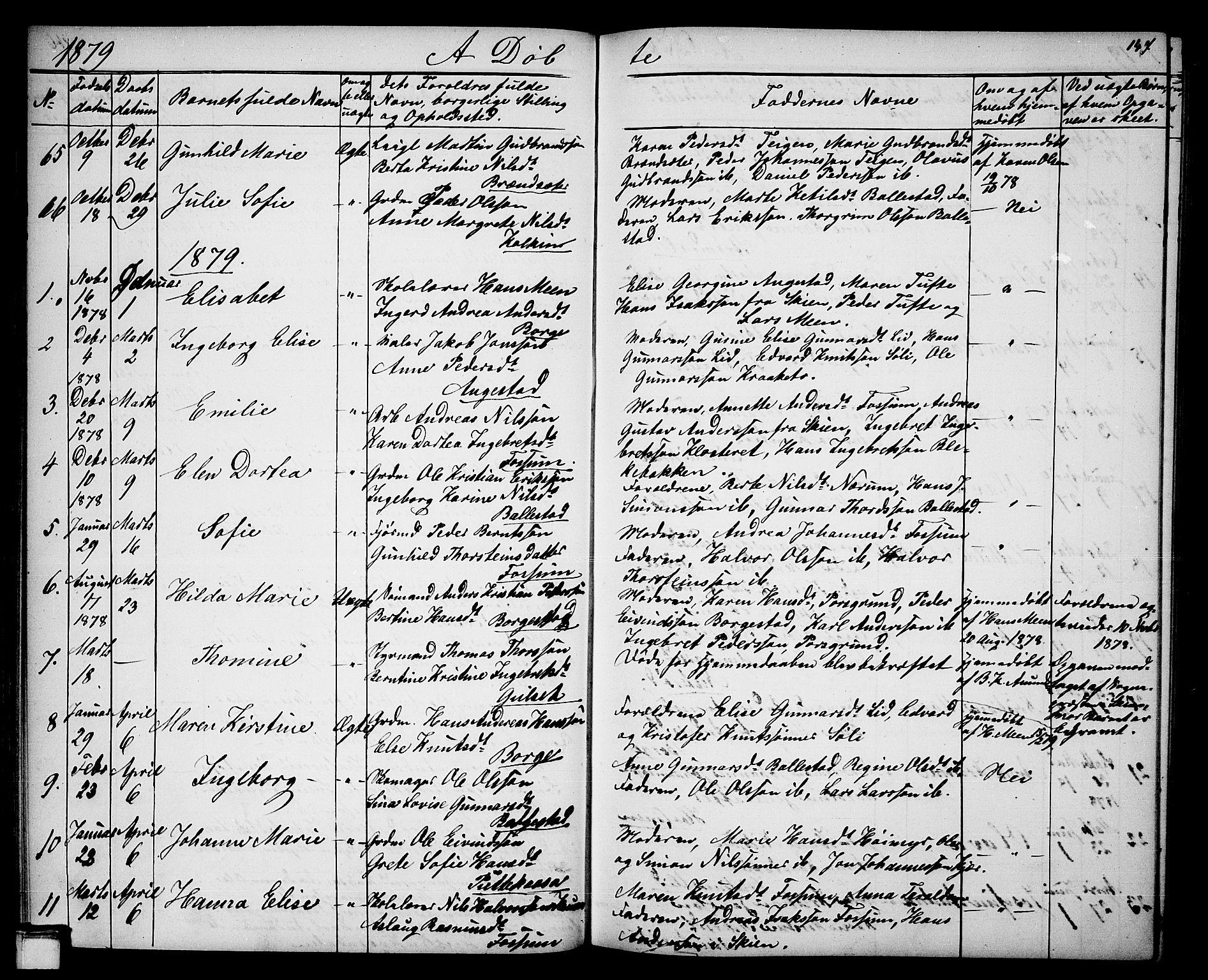SAKO, Gjerpen kirkebøker, G/Ga/L0001: Klokkerbok nr. I 1, 1864-1882, s. 147