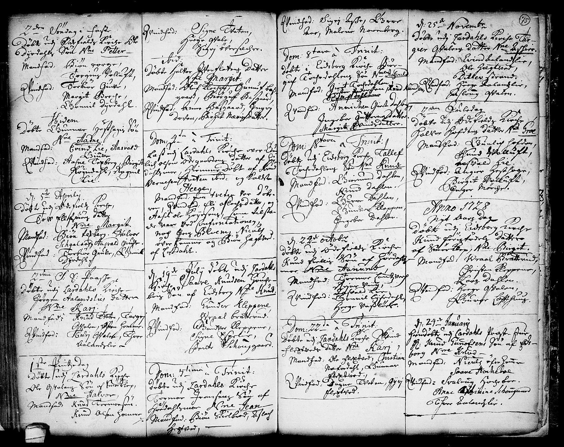 SAKO, Lårdal kirkebøker, F/Fa/L0001: Ministerialbok nr. I 1, 1721-1734, s. 75