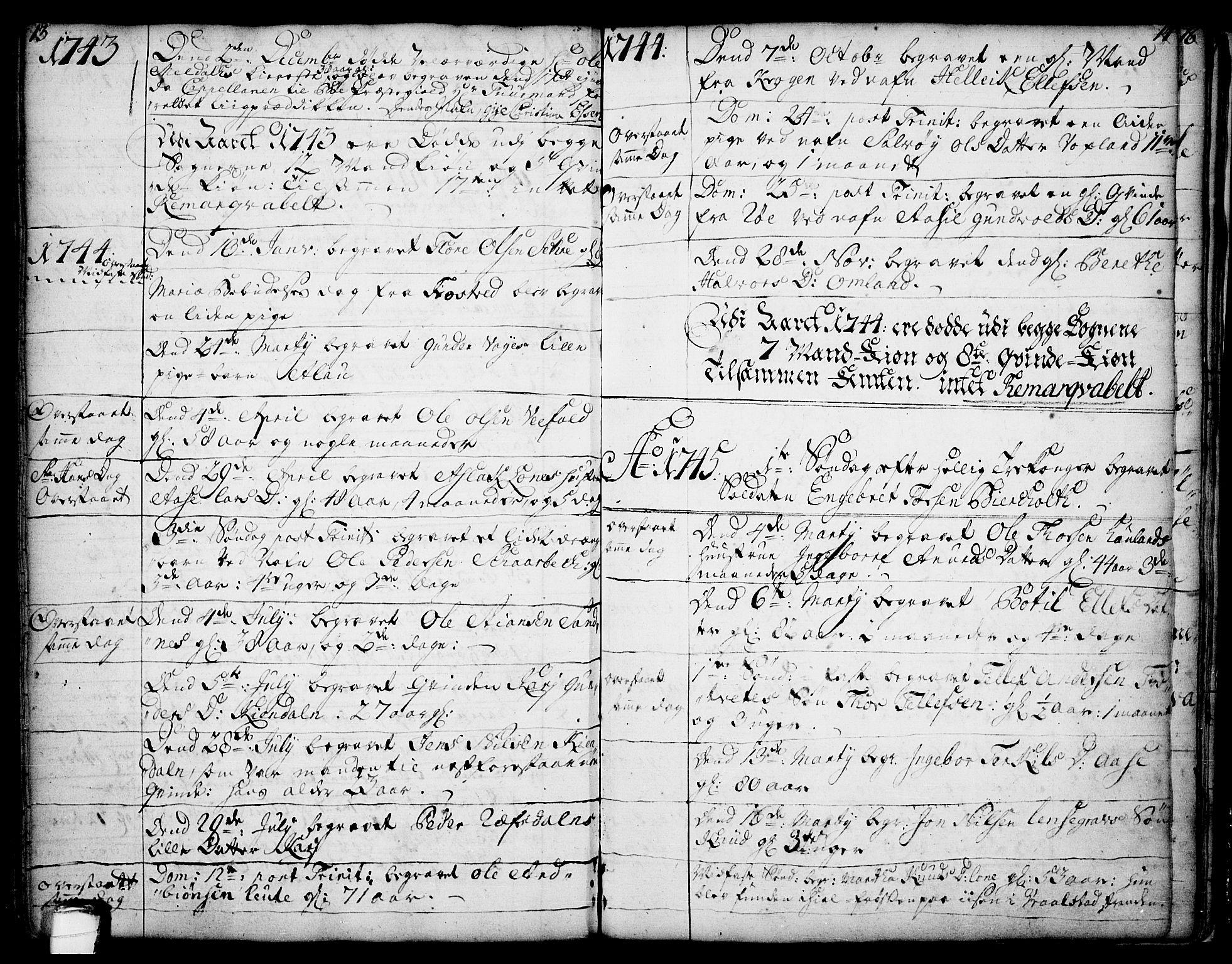 SAKO, Drangedal kirkebøker, F/Fa/L0002: Ministerialbok nr. 2, 1733-1753, s. 13-14