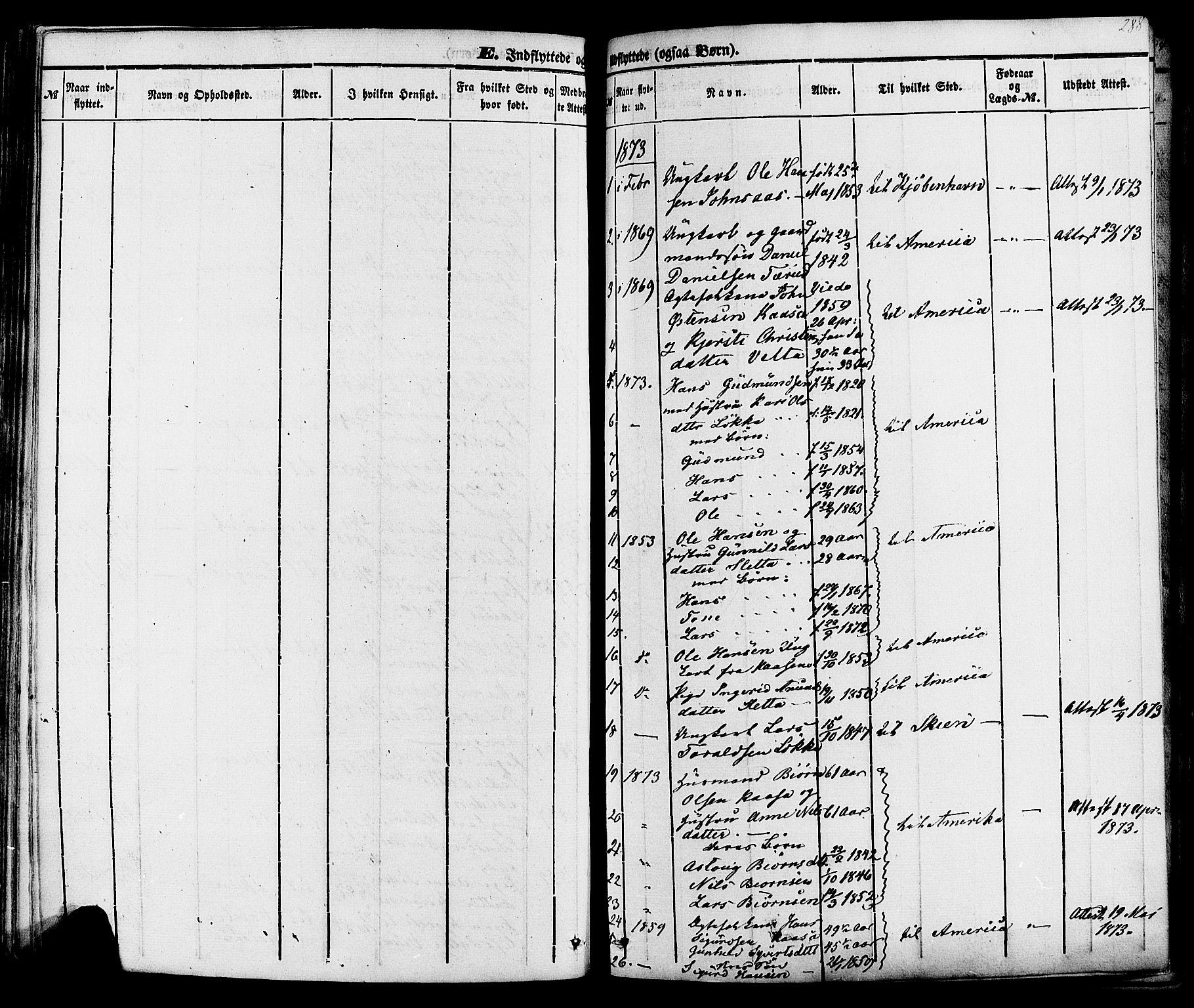 SAKO, Sauherad kirkebøker, F/Fa/L0007: Ministerialbok nr. I 7, 1851-1873, s. 288