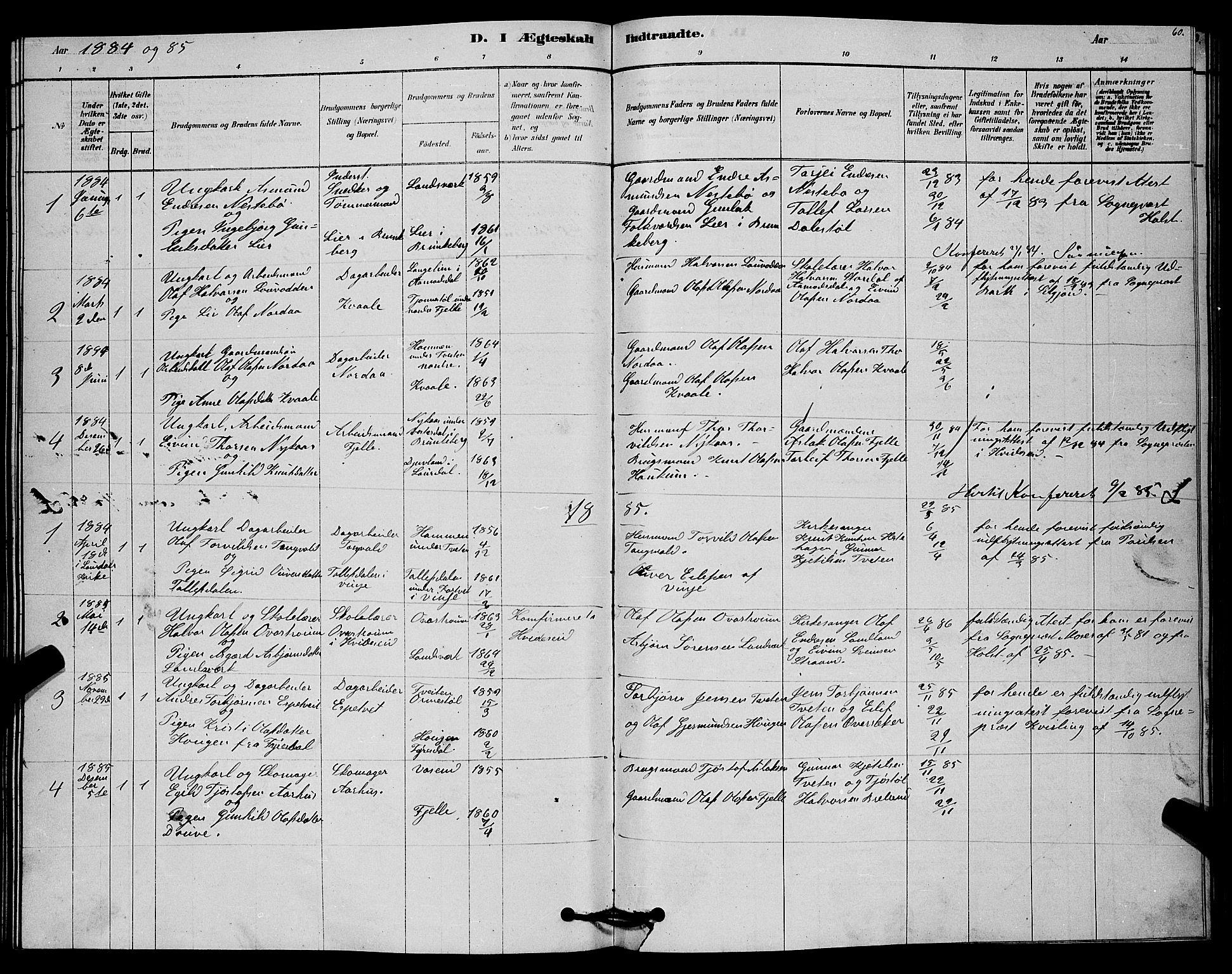 SAKO, Lårdal kirkebøker, G/Gc/L0003: Klokkerbok nr. III 3, 1878-1890, s. 60