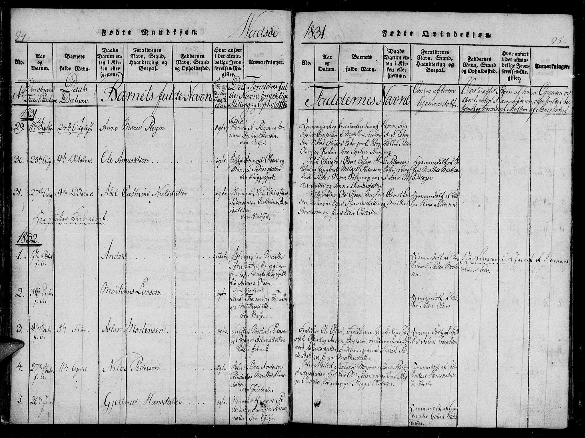 SATØ, Vadsø soknepreskontor, H/Ha/L0003kirke: Ministerialbok nr. 3 /1, 1821-1839, s. 94-95
