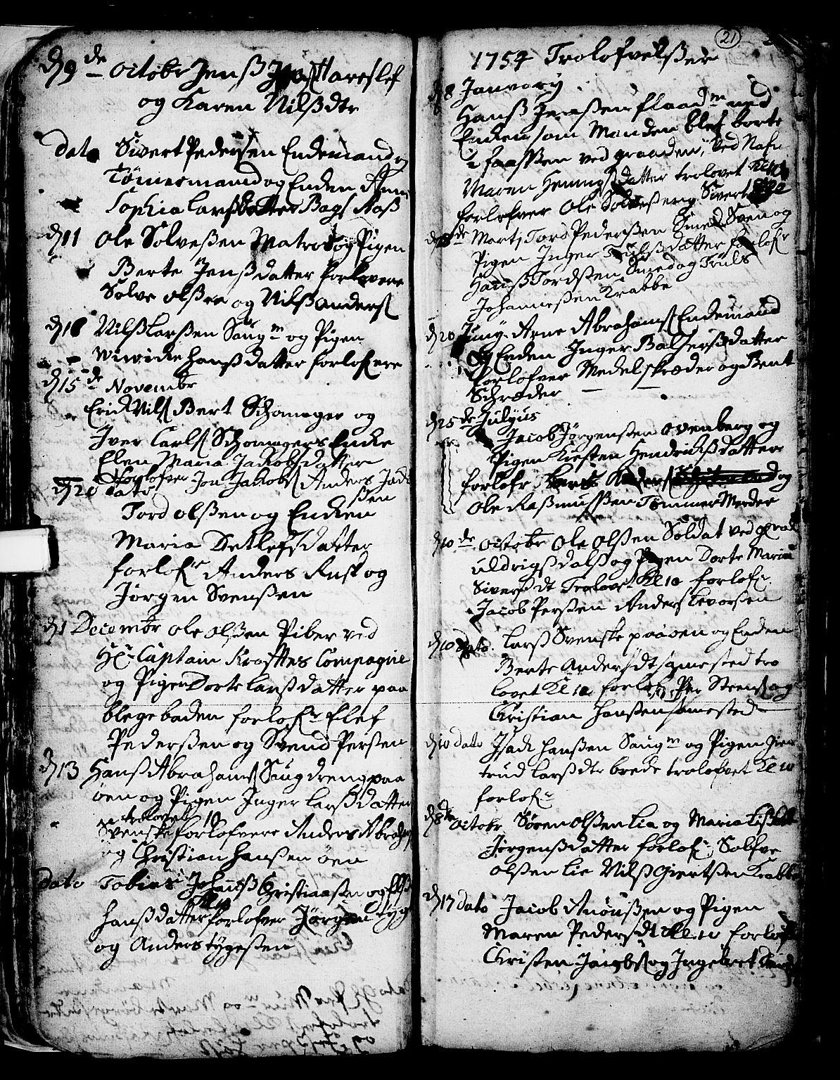 SAKO, Skien kirkebøker, F/Fa/L0002: Ministerialbok nr. 2, 1716-1757, s. 21