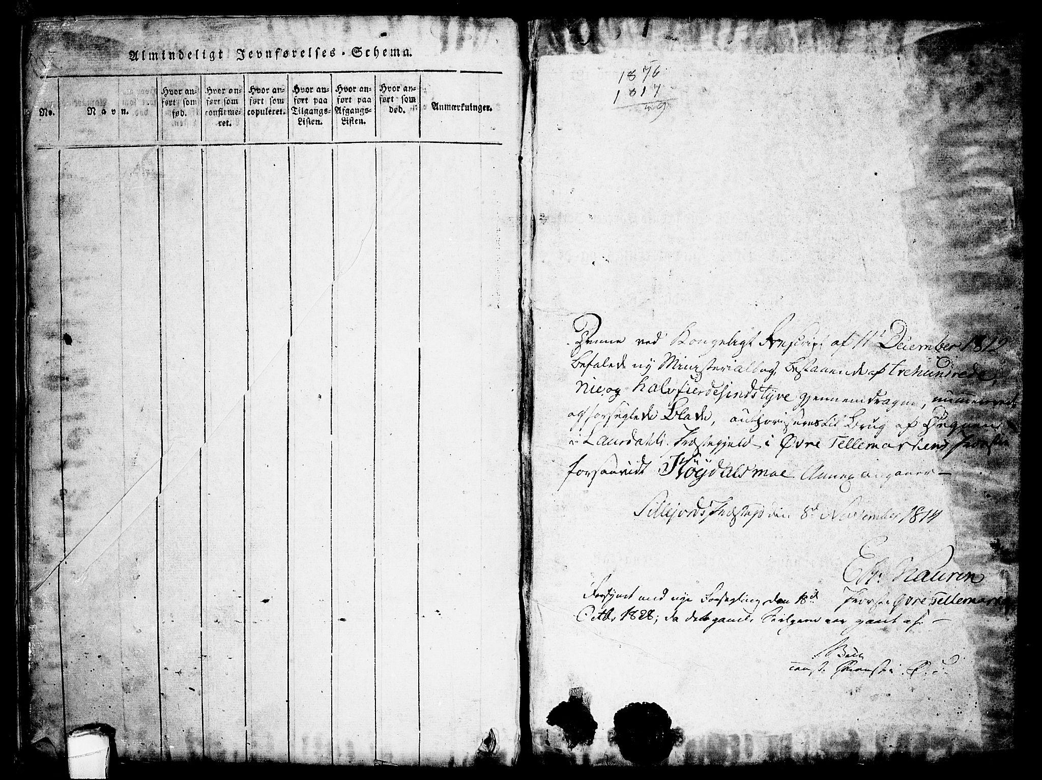 SAKO, Lårdal kirkebøker, G/Gc/L0001: Klokkerbok nr. III 1, 1815-1854