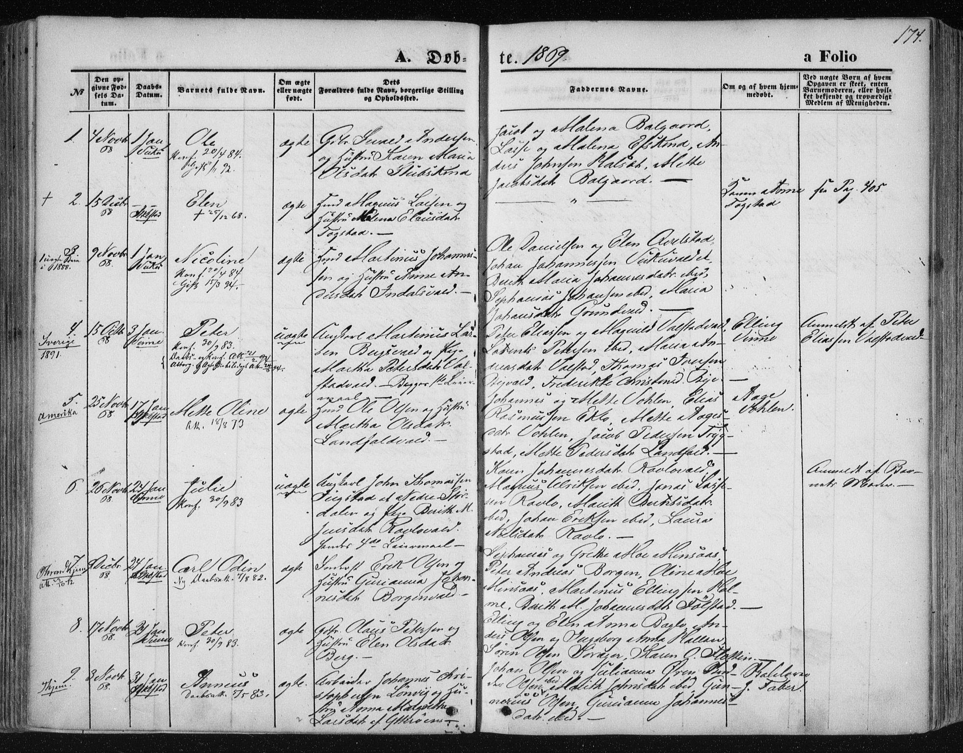 SAT, Ministerialprotokoller, klokkerbøker og fødselsregistre - Nord-Trøndelag, 723/L0241: Ministerialbok nr. 723A10, 1860-1869, s. 174