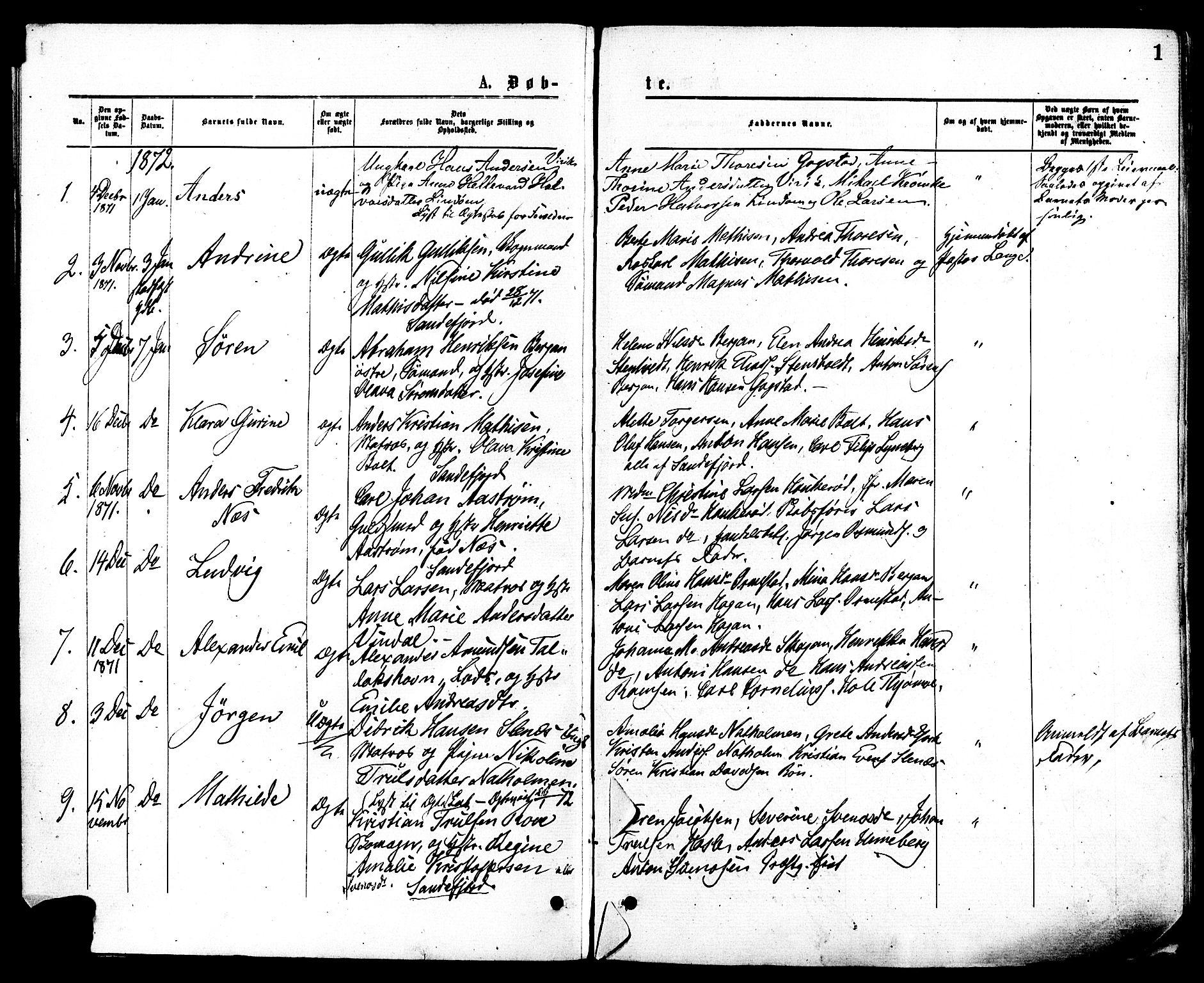 SAKO, Sandar kirkebøker, F/Fa/L0010: Ministerialbok nr. 10, 1872-1882, s. 1