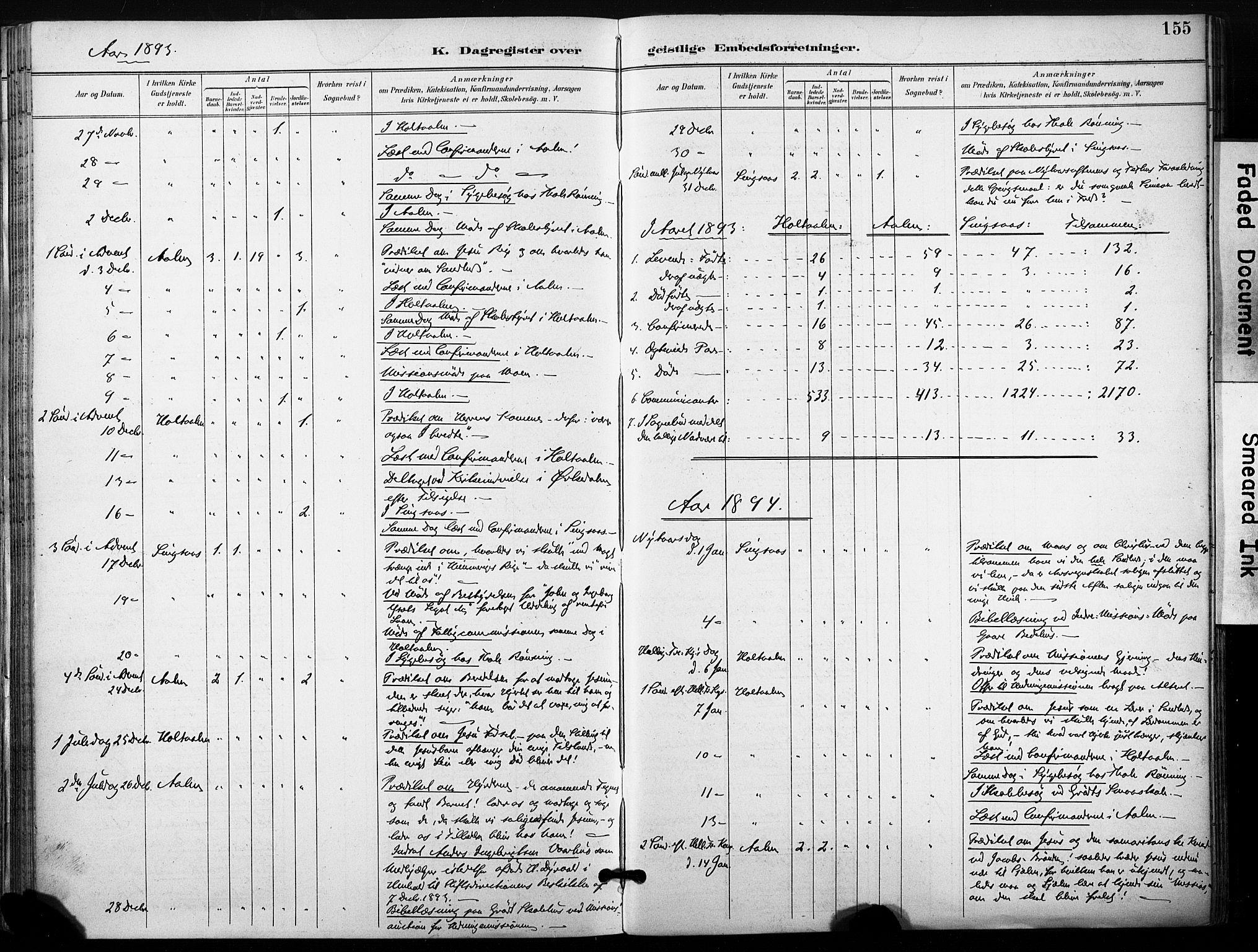 SAT, Ministerialprotokoller, klokkerbøker og fødselsregistre - Sør-Trøndelag, 685/L0973: Ministerialbok nr. 685A10, 1891-1907, s. 155
