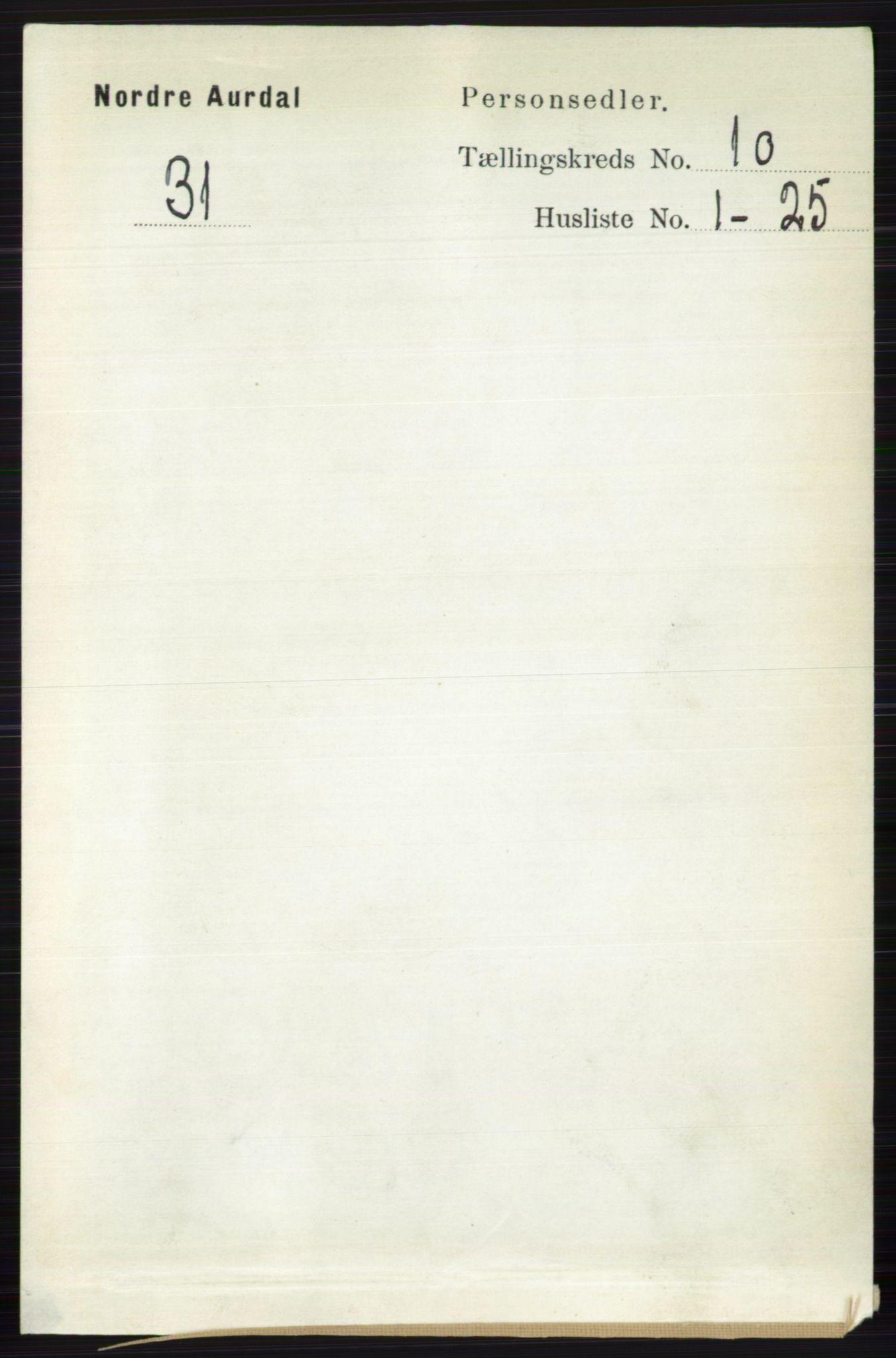 RA, Folketelling 1891 for 0542 Nord-Aurdal herred, 1891, s. 3730