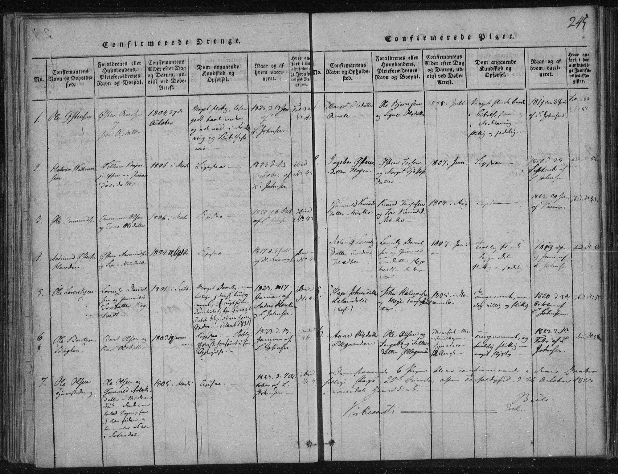 SAKO, Lårdal kirkebøker, F/Fc/L0001: Ministerialbok nr. III 1, 1815-1860, s. 245
