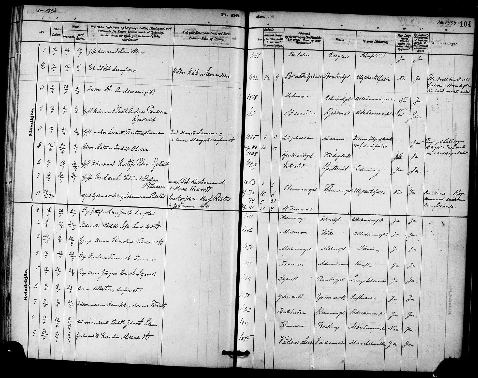 SAT, Ministerialprotokoller, klokkerbøker og fødselsregistre - Nord-Trøndelag, 745/L0429: Ministerialbok nr. 745A01, 1878-1894, s. 104