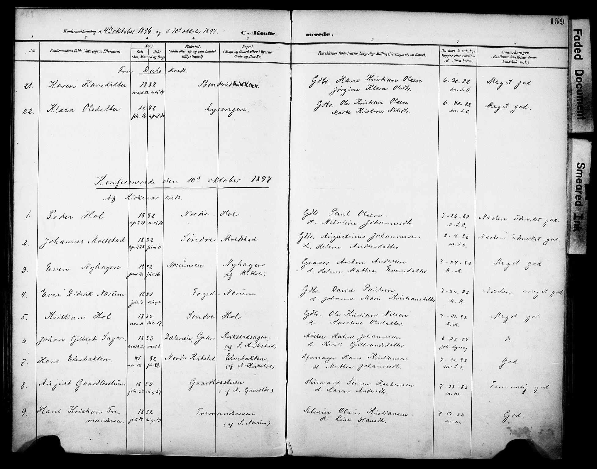 SAH, Vestre Toten prestekontor, H/Ha/Haa/L0013: Ministerialbok nr. 13, 1895-1911, s. 159