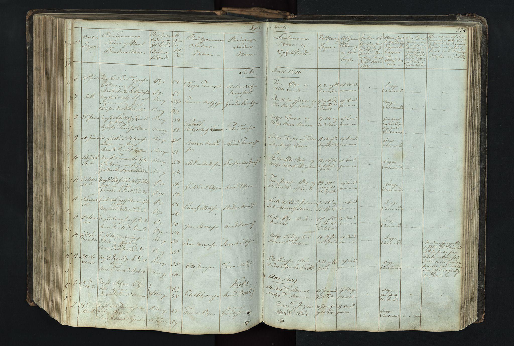 SAH, Vang prestekontor, Valdres, Klokkerbok nr. 4, 1835-1892, s. 324