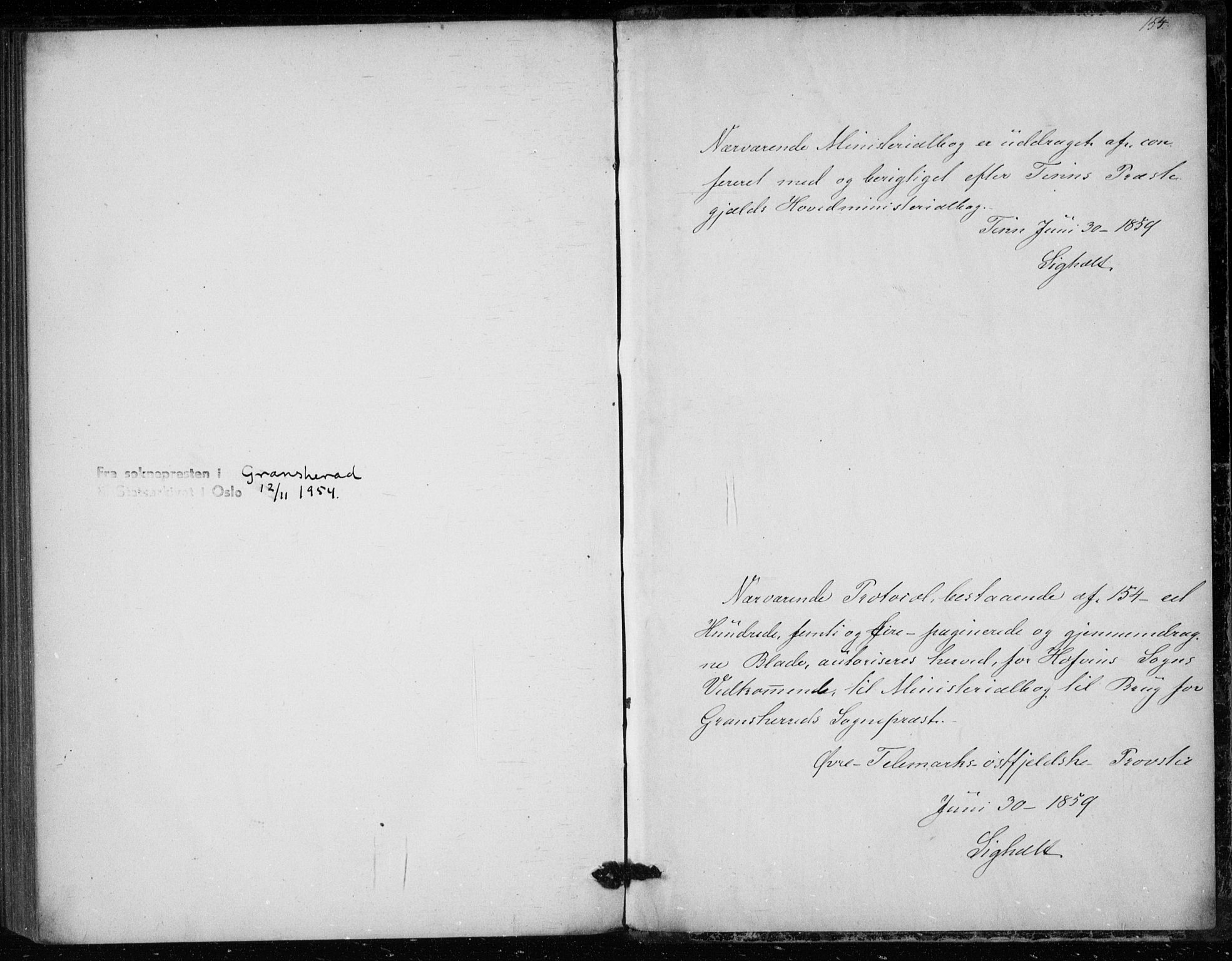 SAKO, Gransherad kirkebøker, F/Fb/L0003: Ministerialbok nr. II 3, 1844-1859, s. 154