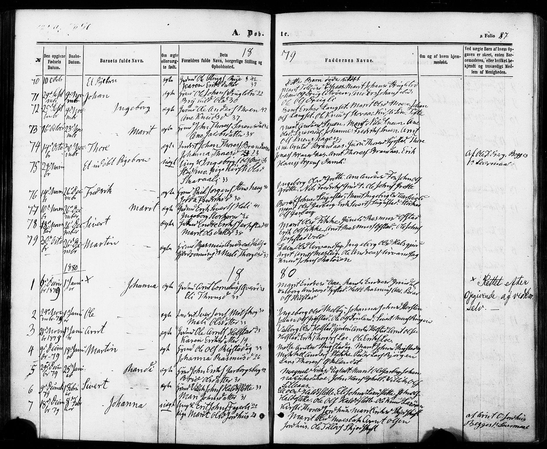 SAT, Ministerialprotokoller, klokkerbøker og fødselsregistre - Sør-Trøndelag, 672/L0856: Ministerialbok nr. 672A08, 1861-1881, s. 87