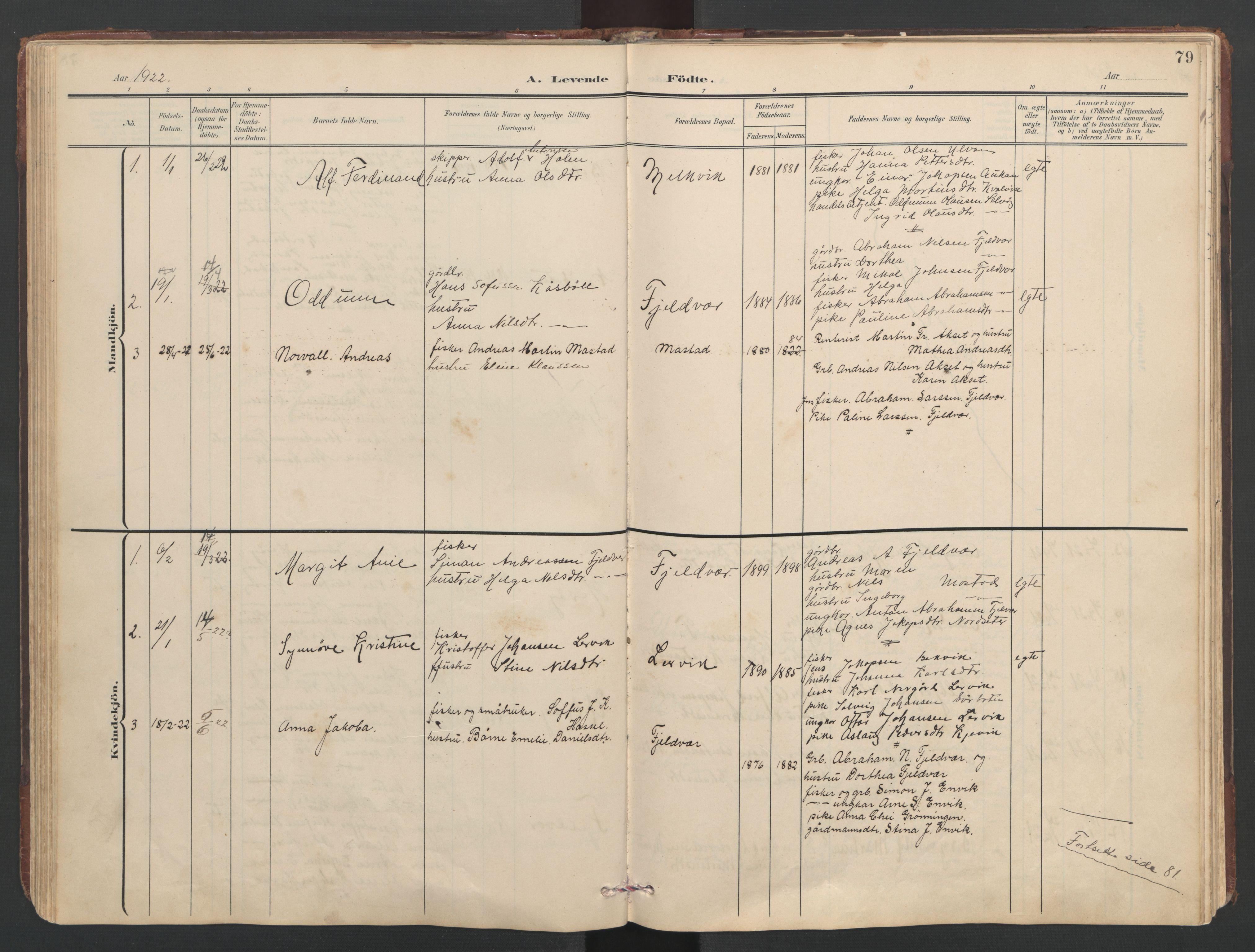 SAT, Ministerialprotokoller, klokkerbøker og fødselsregistre - Sør-Trøndelag, 638/L0571: Klokkerbok nr. 638C03, 1901-1930, s. 79